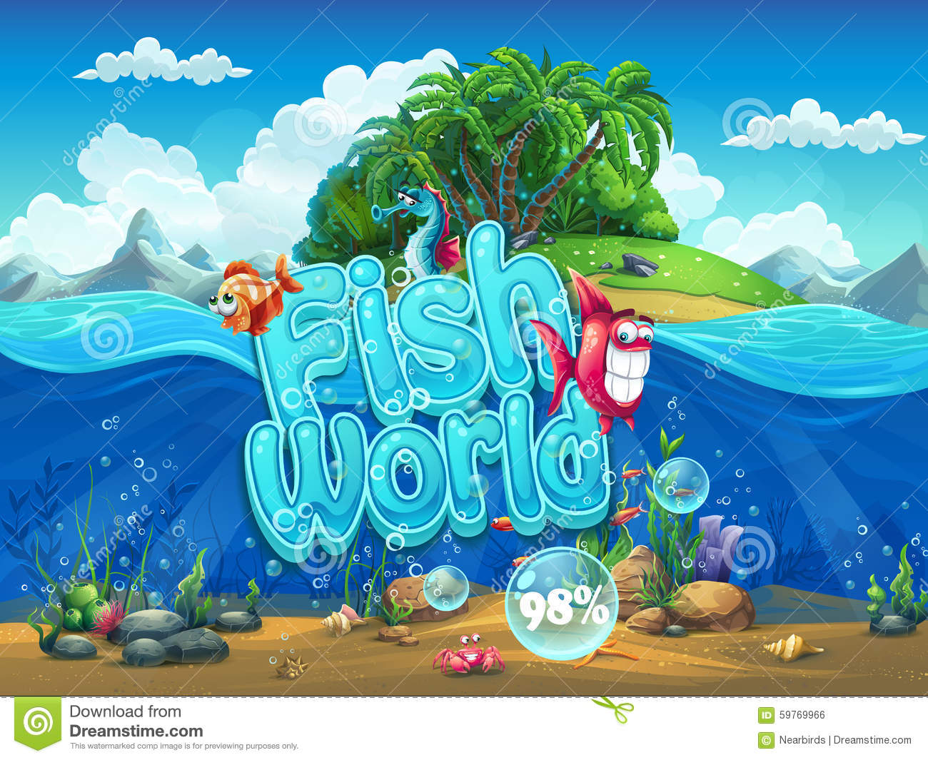 Fish world illustration boot screen to the computer game for Fish world games