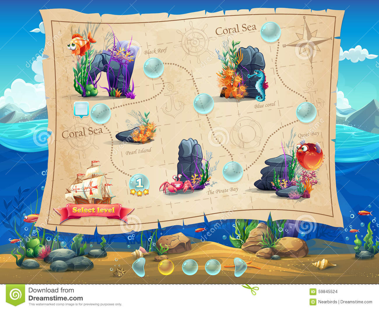 Fish world illustration example screen levels game for Fish world games