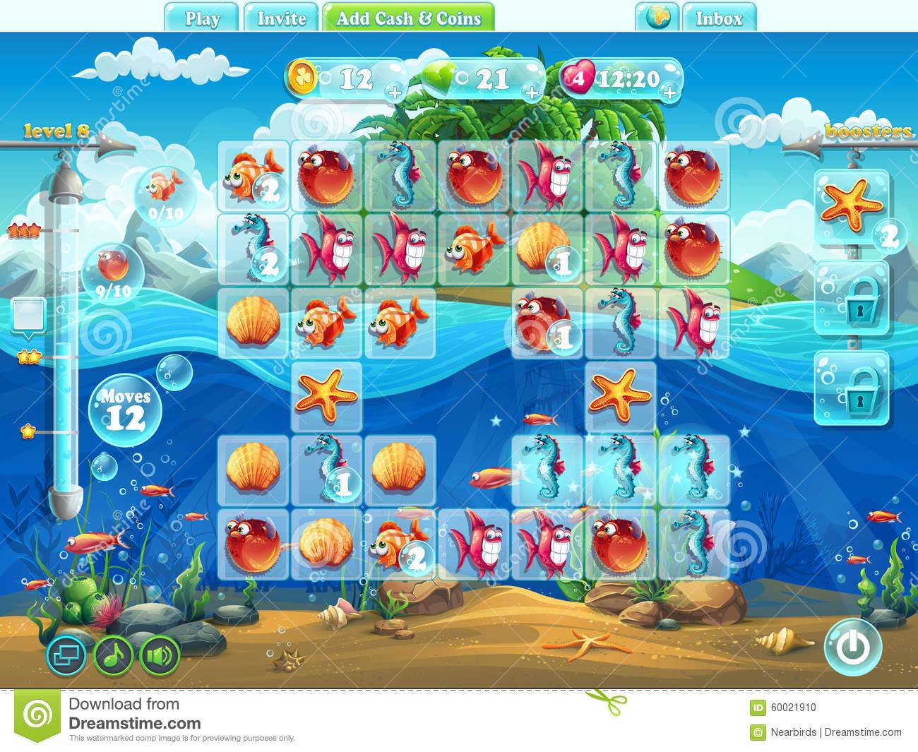 Fish world playing field for the computer game or web for Fishing world game