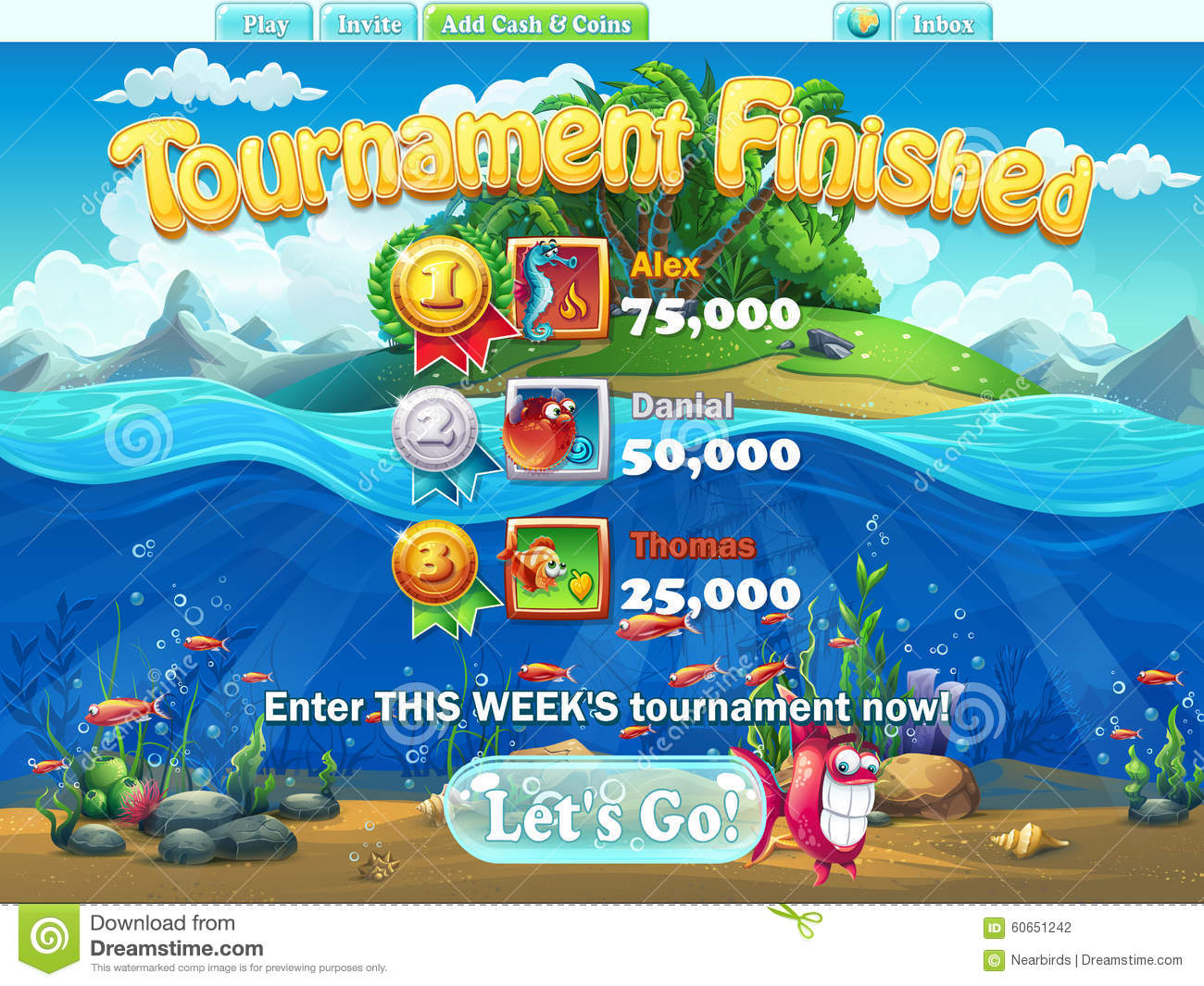 Fish world tournament finished for computer web game for Fish world games