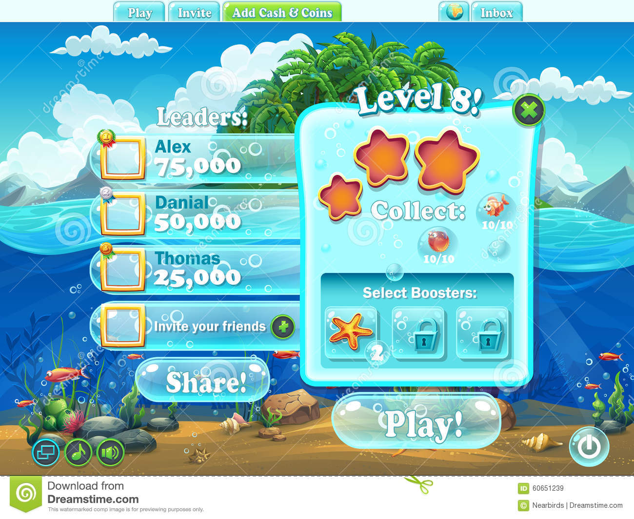 Fish world window level complete for computer web game for Fish world games