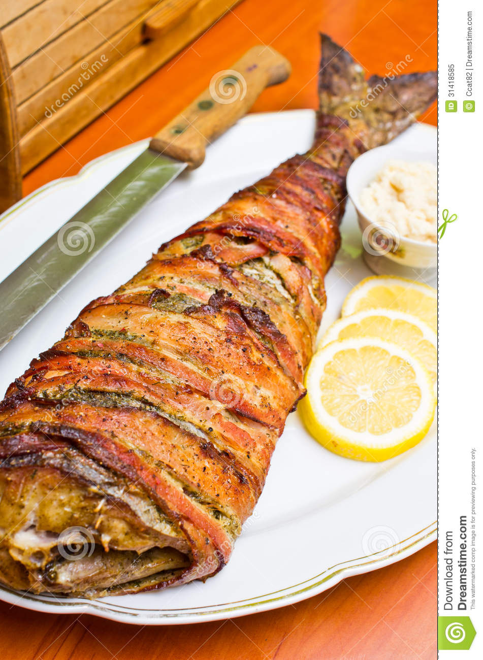 Fish wrapped in bacon stock image. Image of food, fillet ...