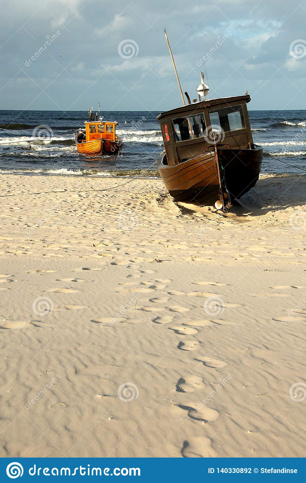 Fisher boat on beach of isle Usedom