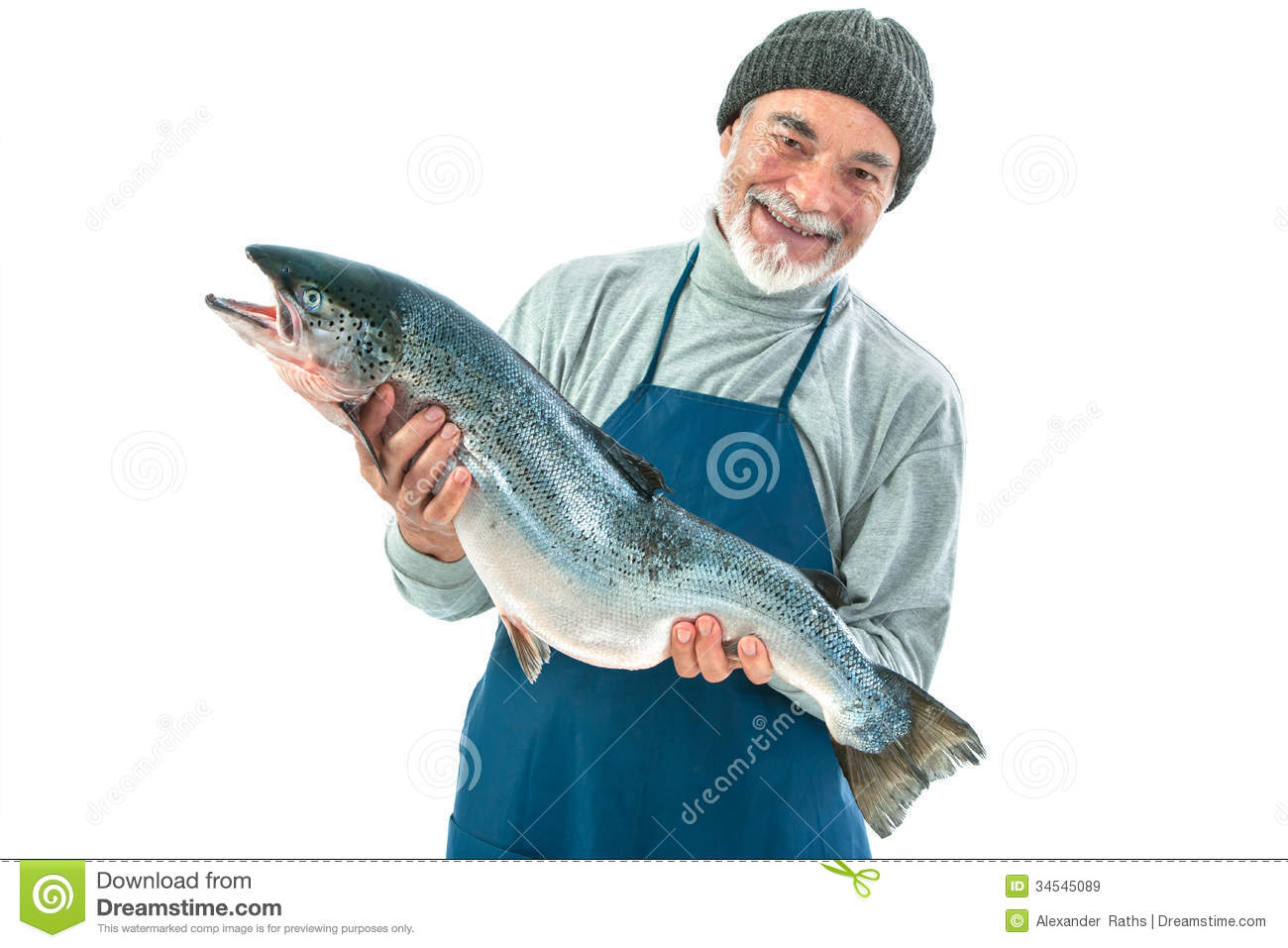 Fisher holding a big atlantic salmon fish royalty free for Salmon fish images