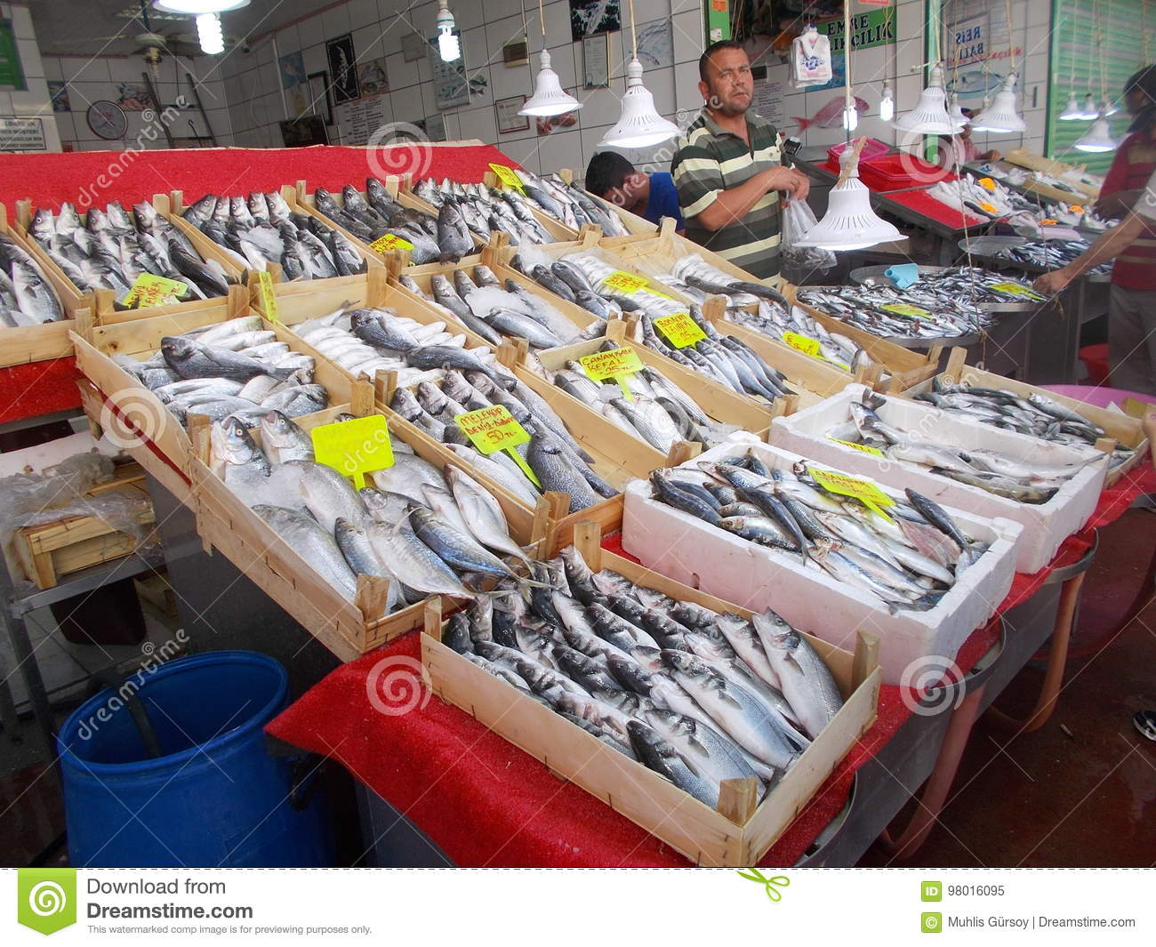 Fisher Selling Fishes on Fish Market