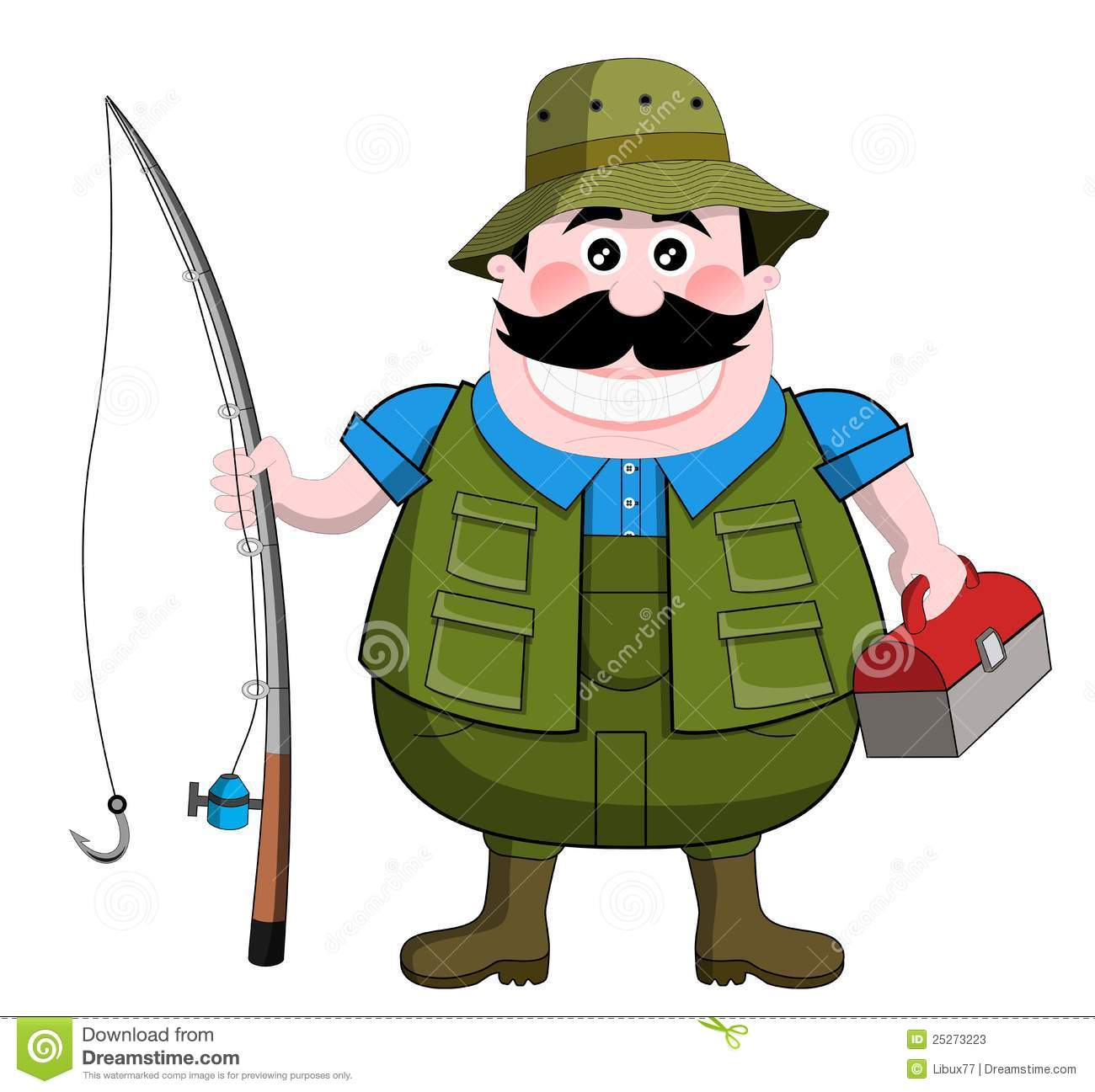 Cartoon fisherman isolated on white background. Eps file is available ...