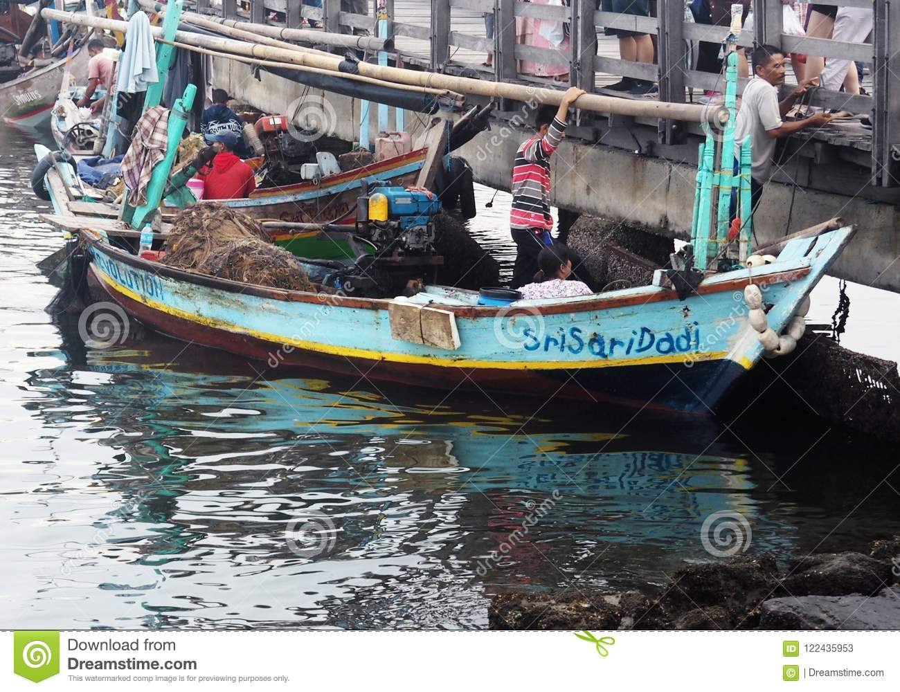 Interaction Of Fishermen With Fish Buyers Editorial Stock Photo