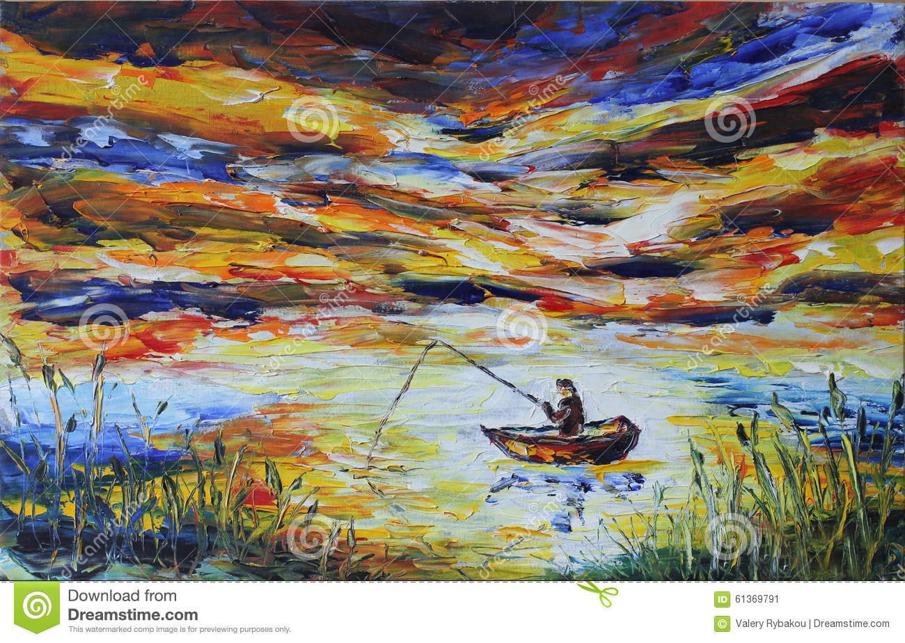 Fisherman in a boat fishing rod lake reeds evening for How many fishing rods per person in texas