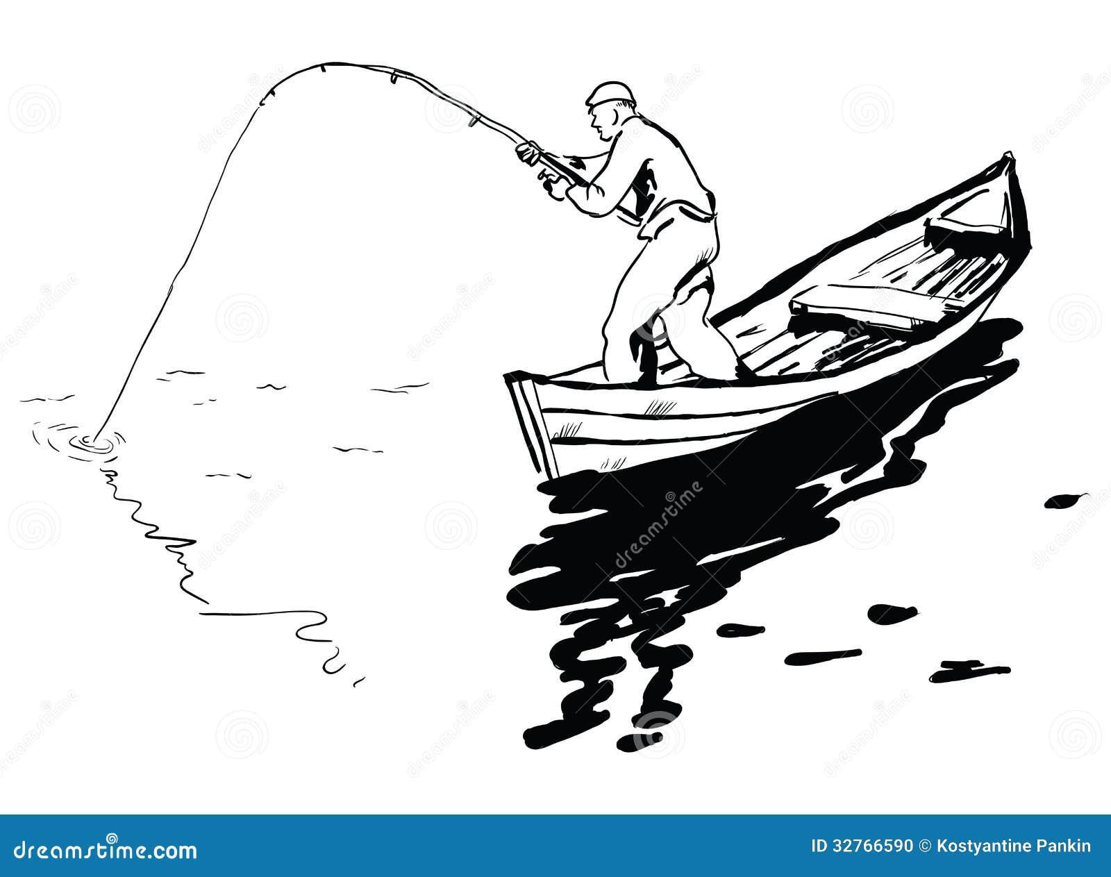 Fisherman In Boat Stock Photo Image 32766590