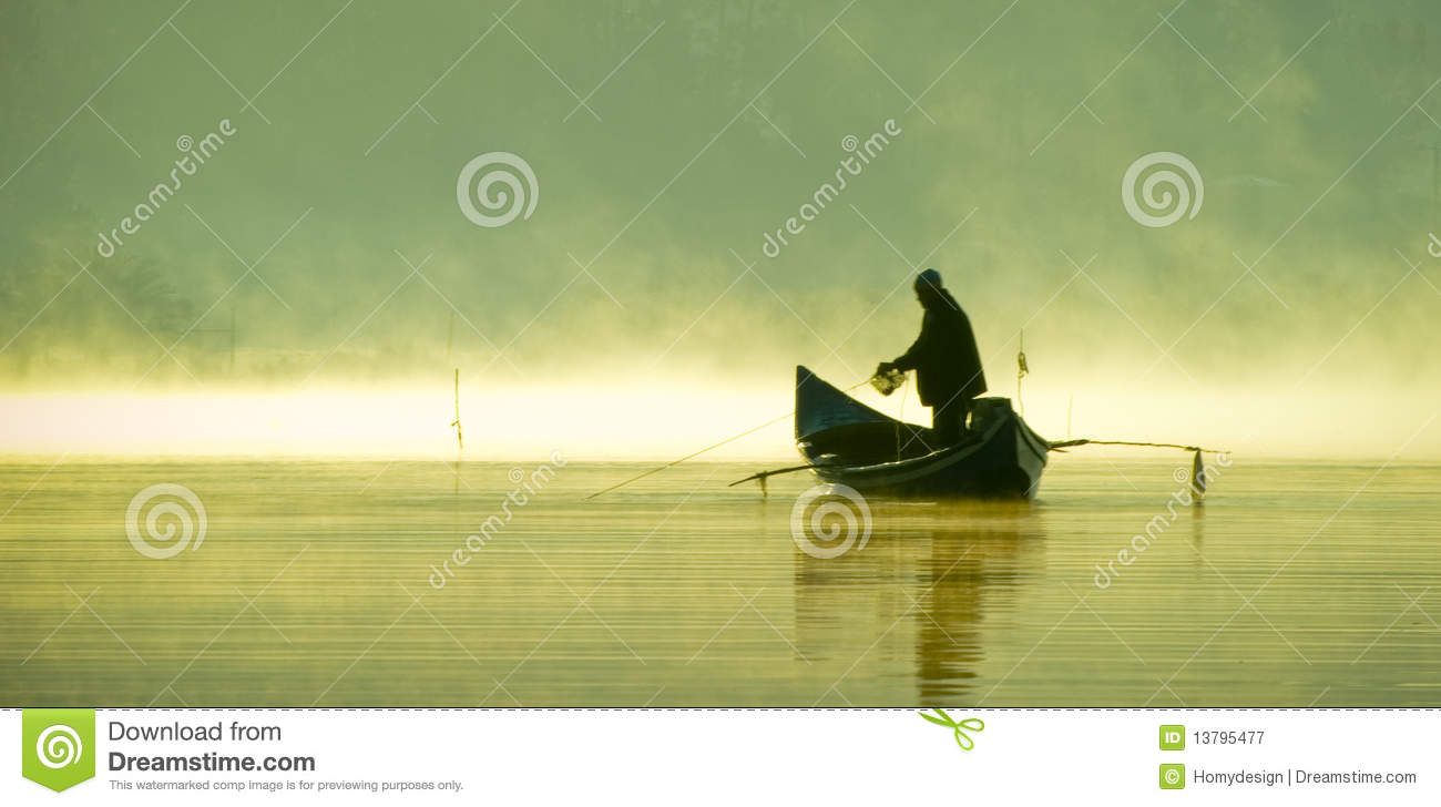 Fisherman on a boat silhouette