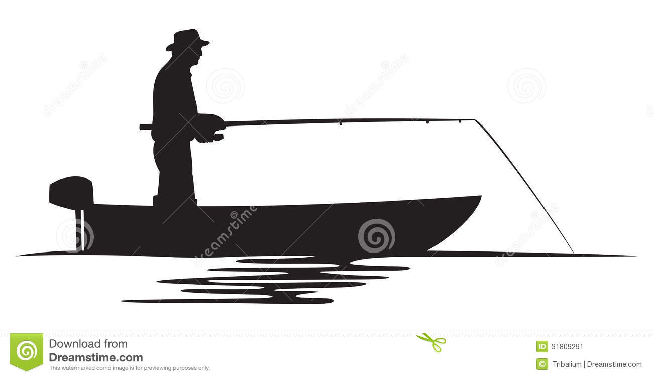 Fisherman In A Boat Silhouette Stock Image - Image: 31809291
