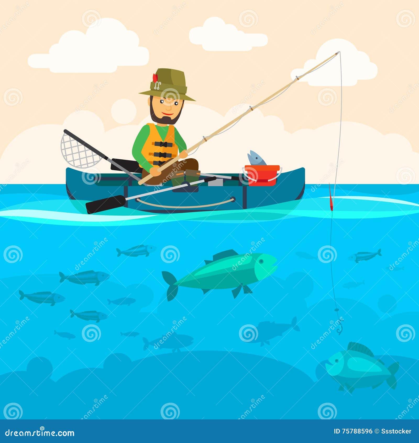 Fisherman On A Boat Vector Illustration Stock Vector ...