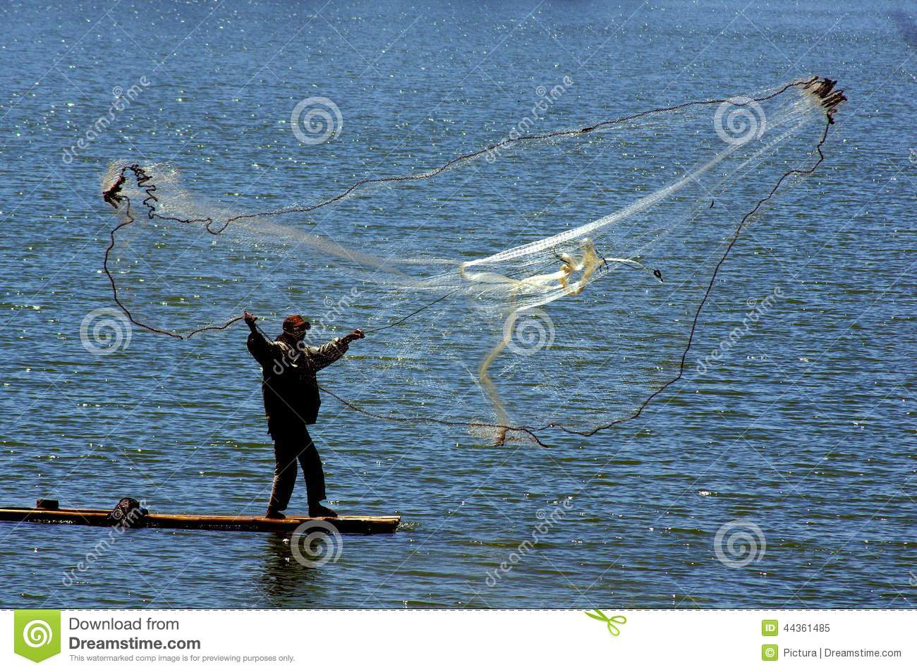 Fisherman cast net fishing in indonesia stock image for Small fishing net