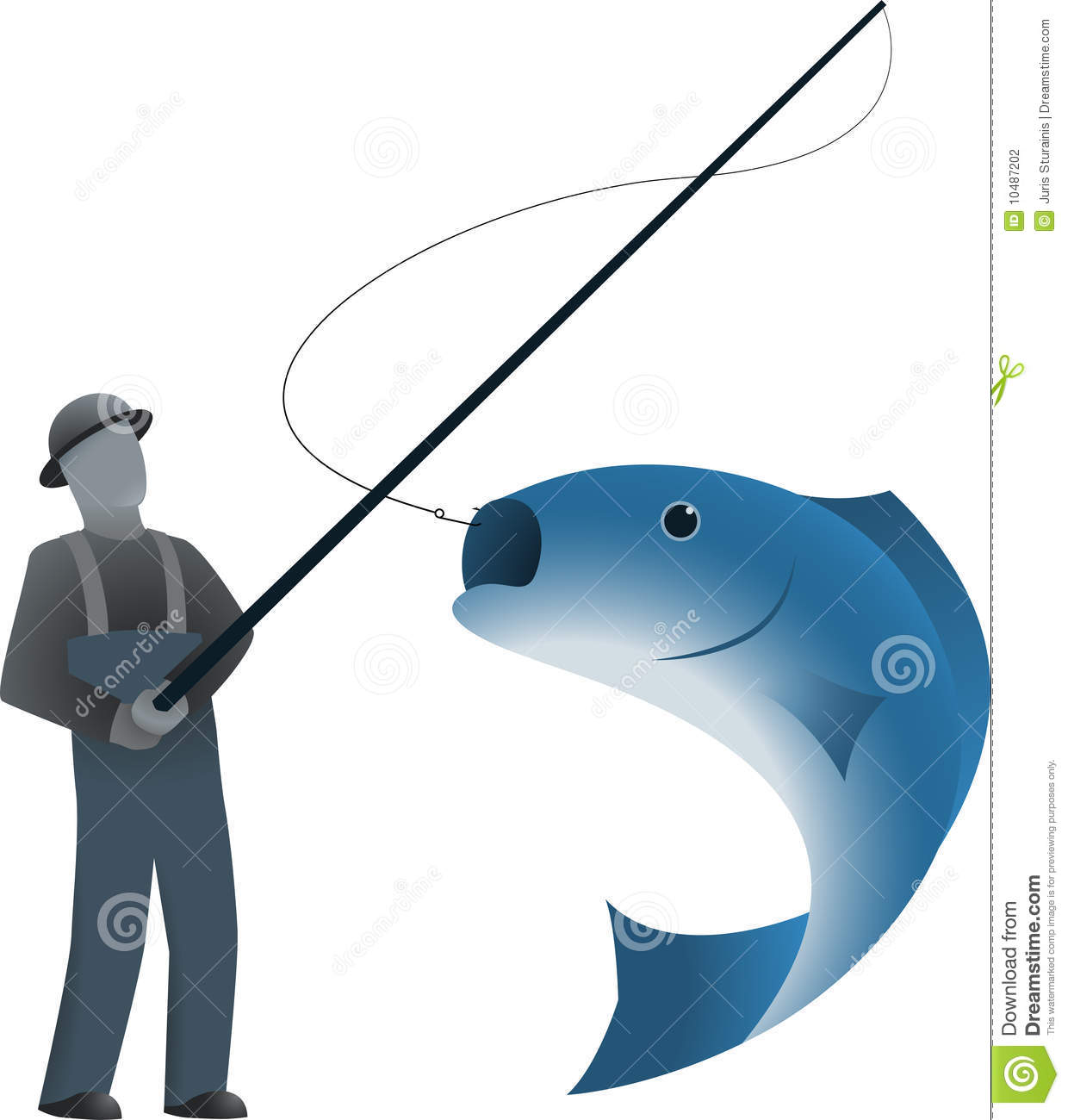 Fisherman And A Fish On Hook Stock Vector - Image: 10487202