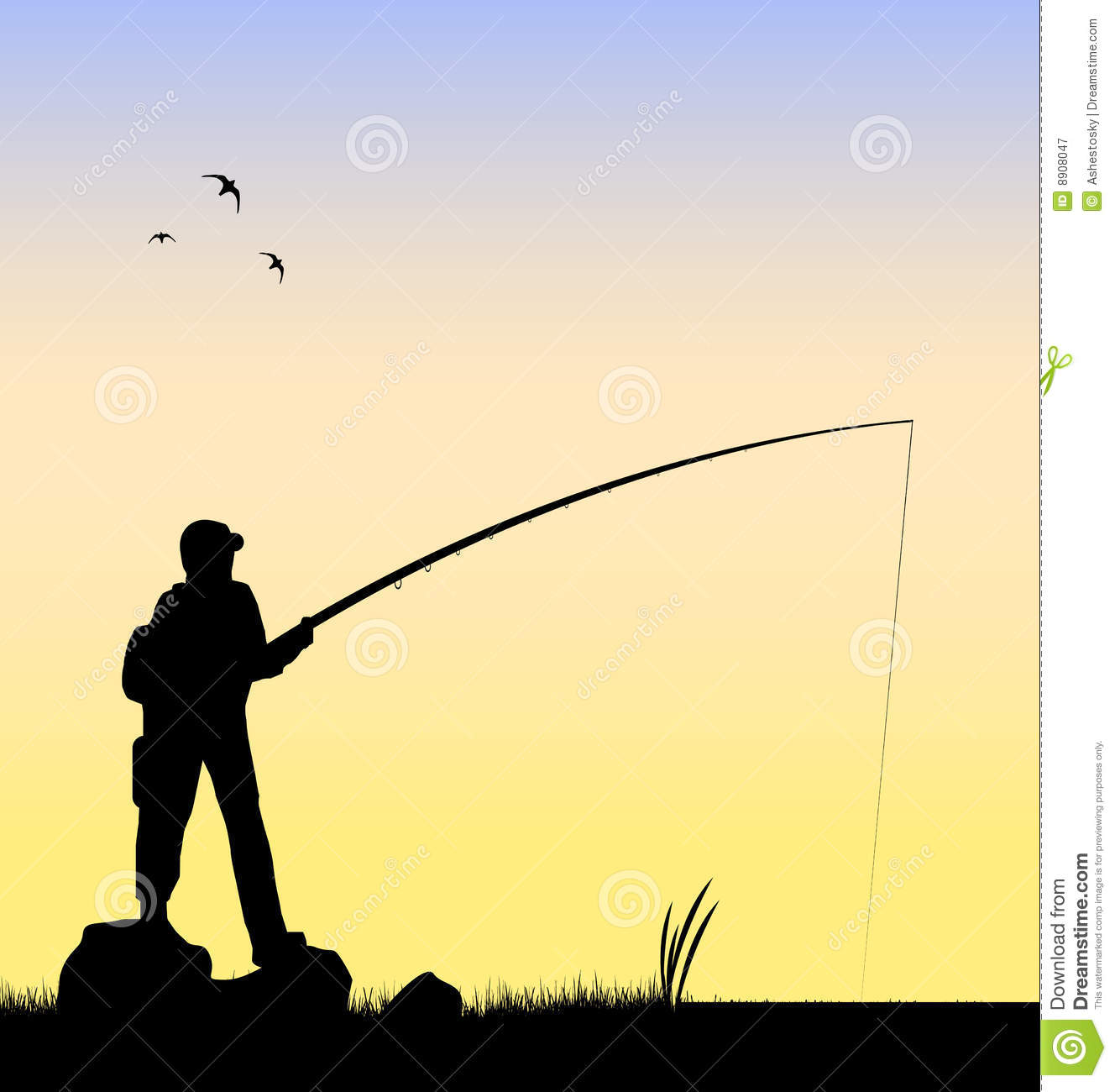 Fisherman fishing in a river vector royalty free stock for Fishing times free