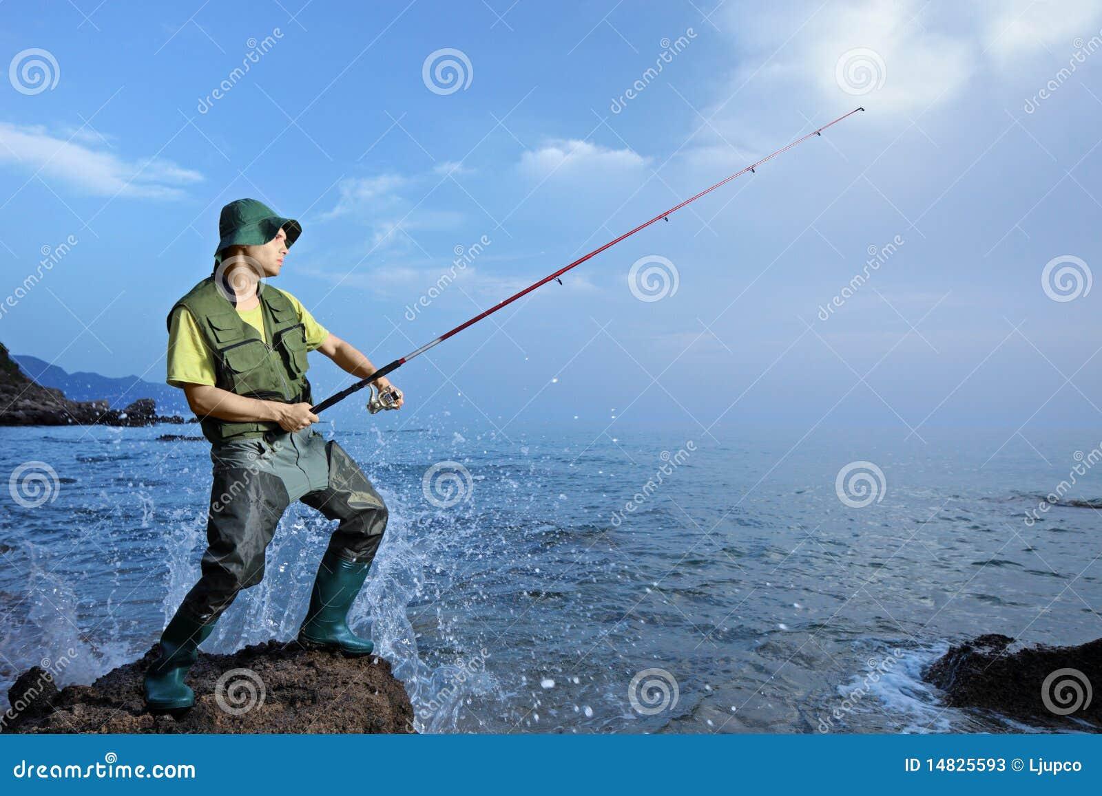 A Fisherman Fishing At The Sea Stock Image Image Of