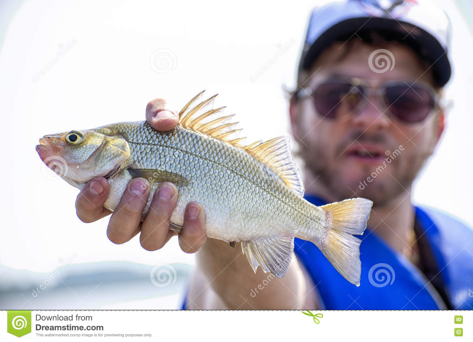 Fisherman with freshly caught freshwater drum fish