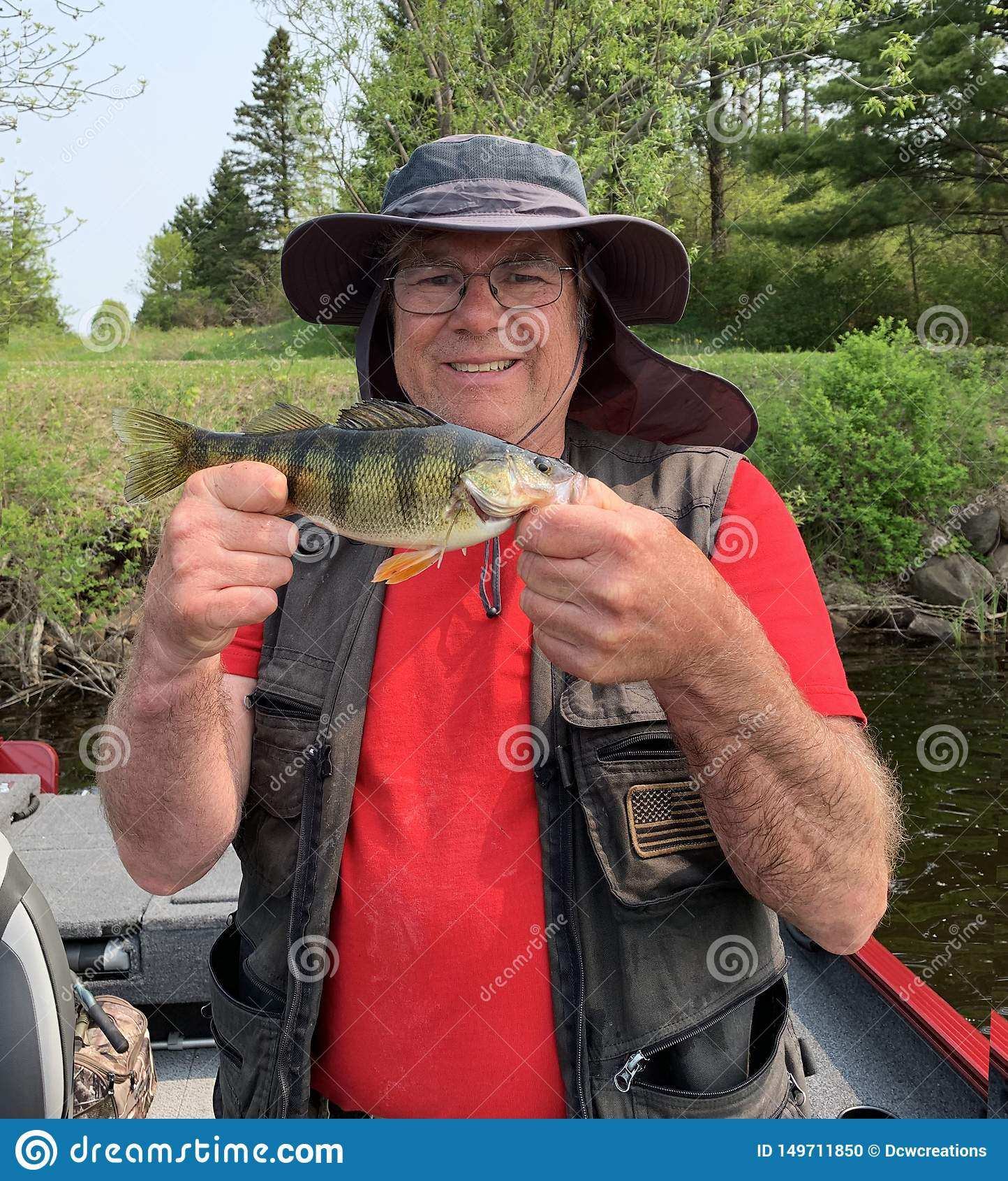 Fisherman holding a Jumbo Perch