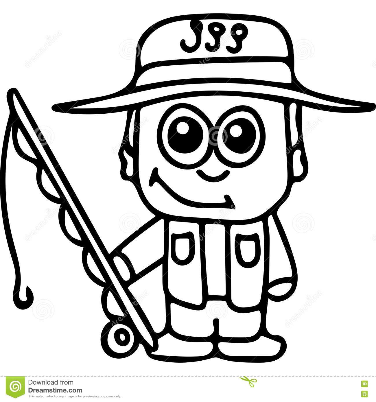 Clip Art Of A Coloring Page Fisherman Inside Big Fish