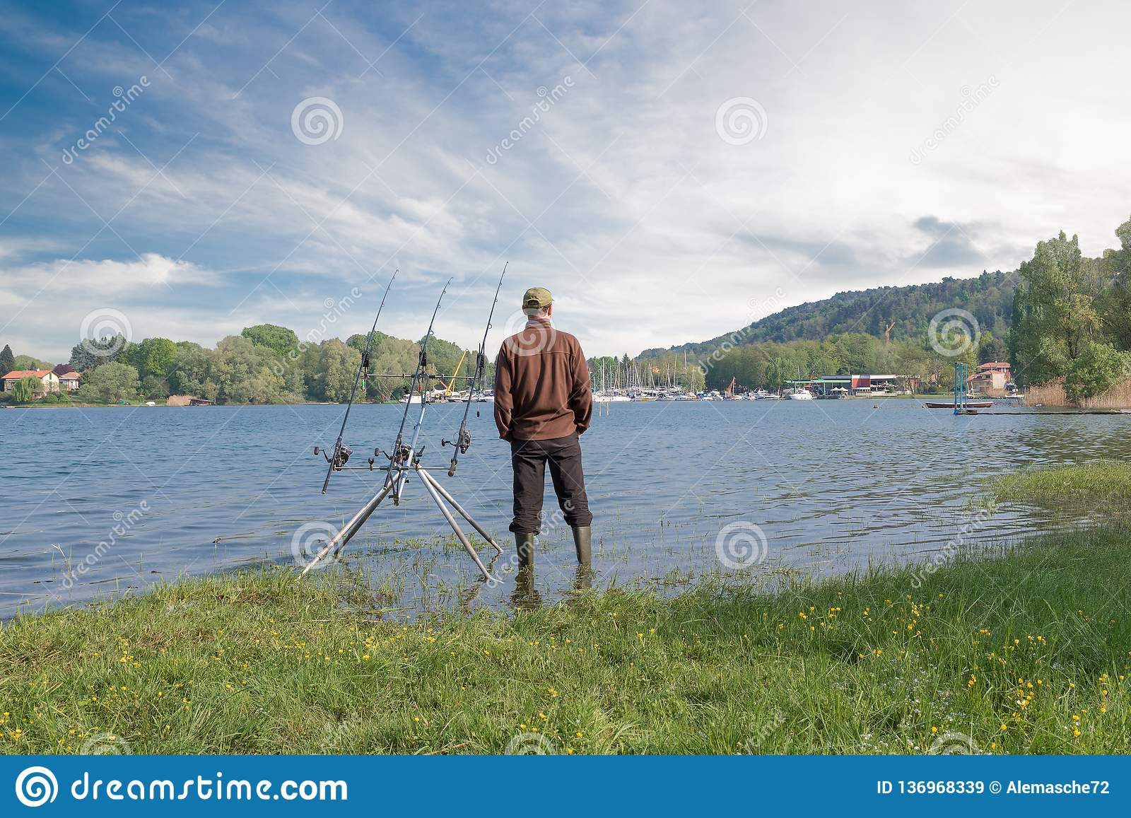 Fishing Adventures Angler Is Fishing With Carp Fishing Technique Stock Image Image Of Life Copy 136968339