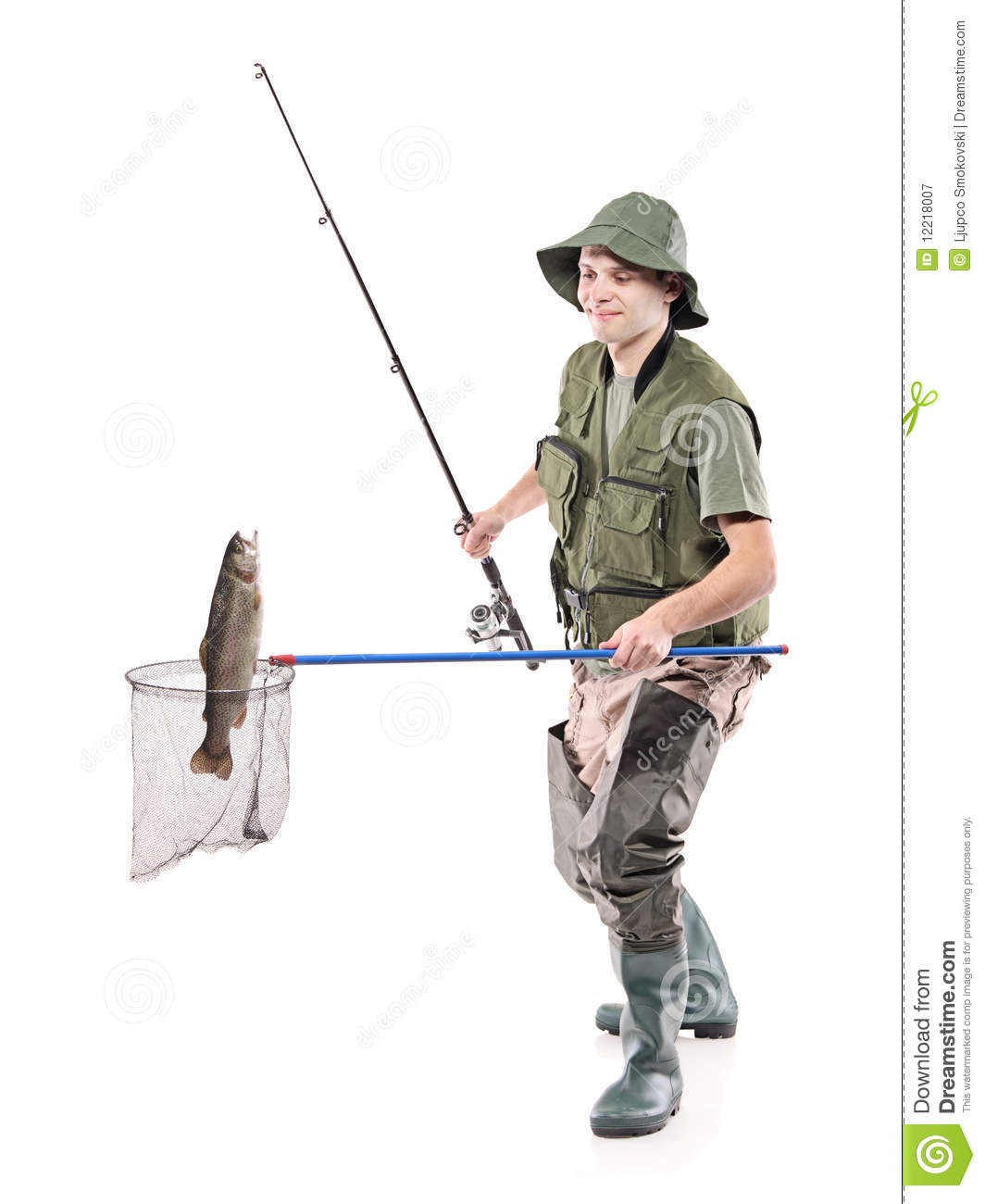 Fisherman putting a fish into a fishing net stock image for Fishing times free