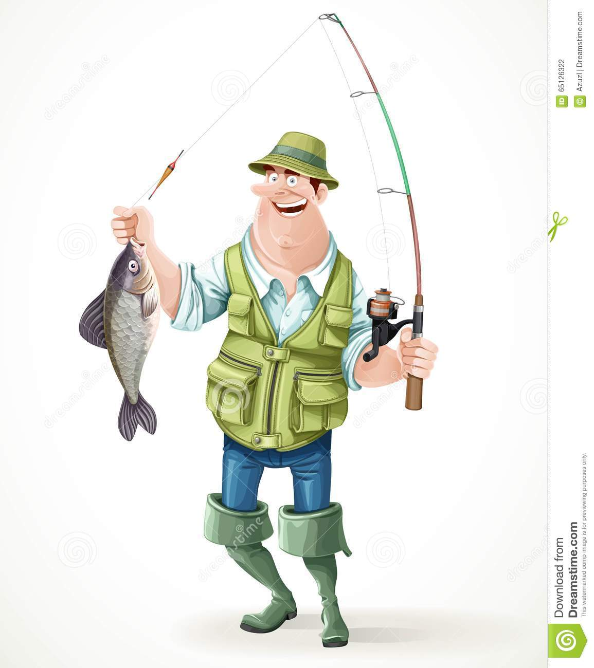 Fisherman in rubber boots with a caught fish and a fishing for White fishing boots