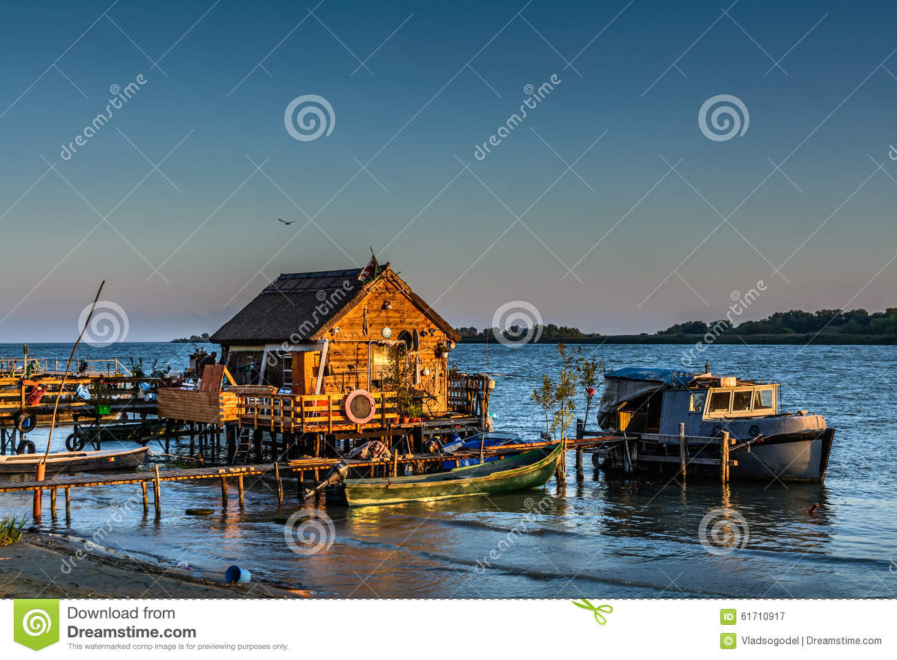 Fisherman's House, The Old Dock And The Boat On The Lake. Rustic Stock Image - Image of house ...