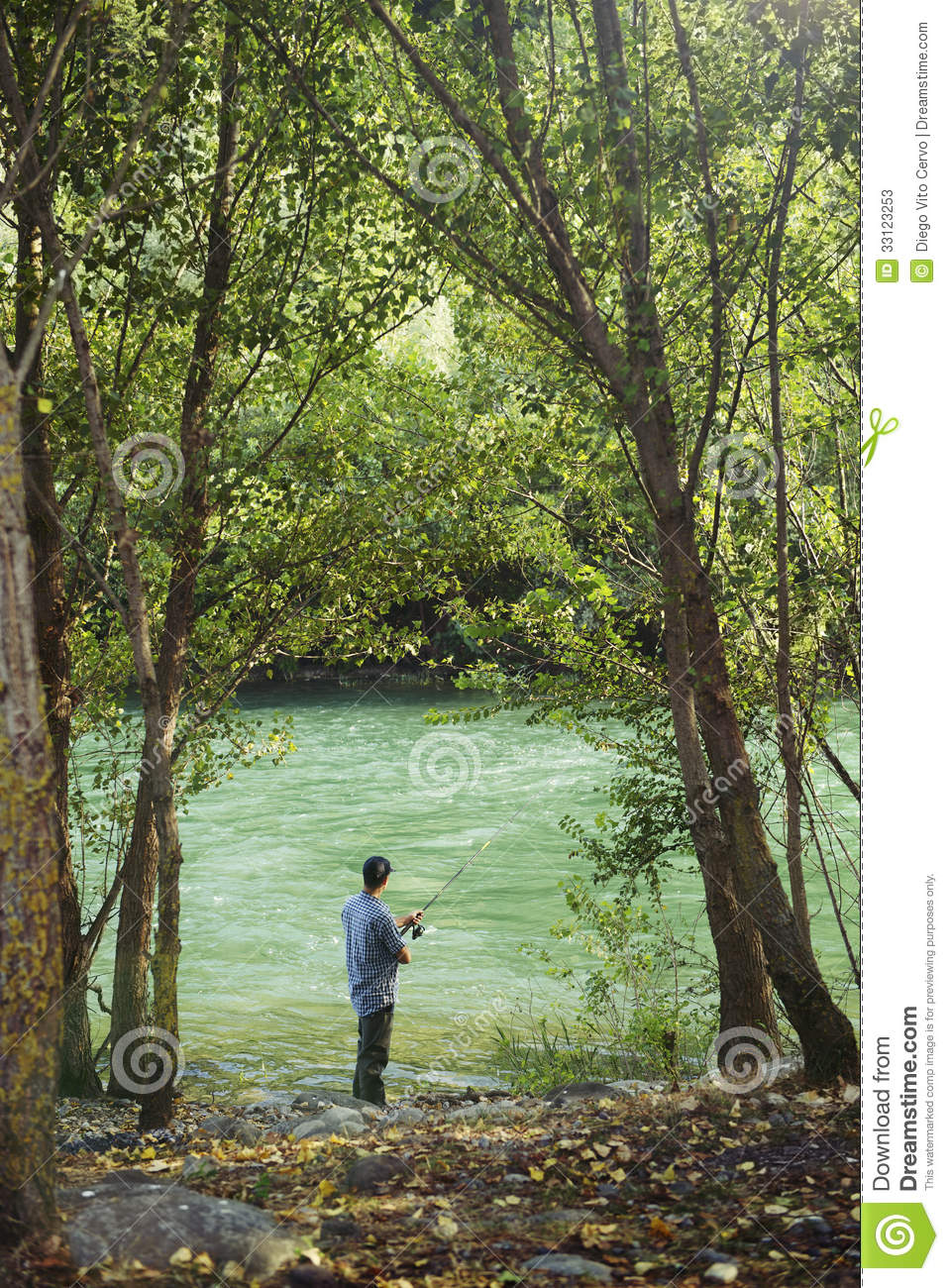 Fisherman Standing Near River And Holding Fishing Rod ...