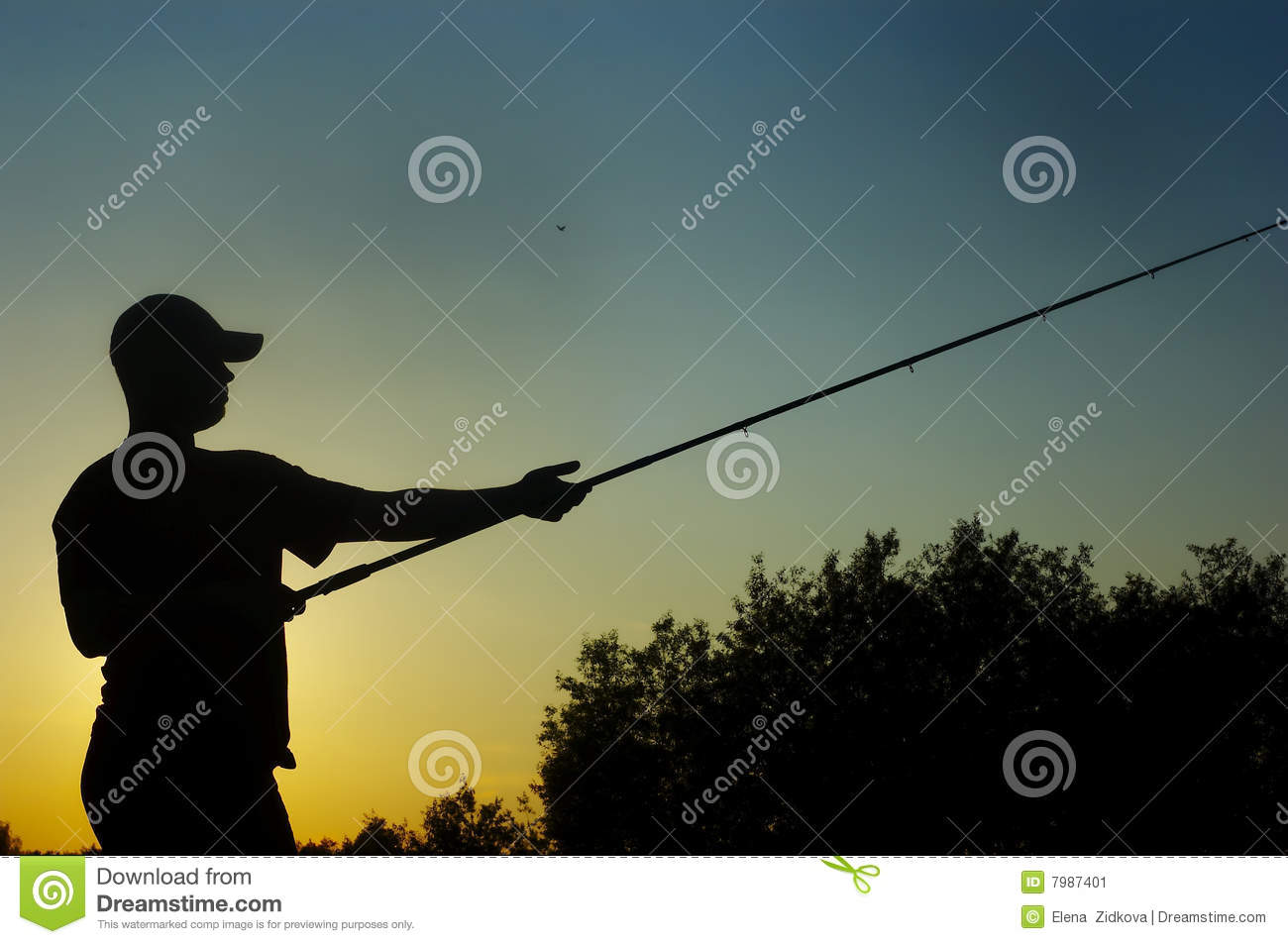 Fisherman on sundown