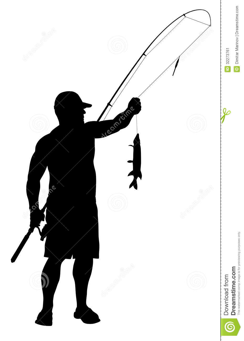 Vector illustration of fisherman silhouette.