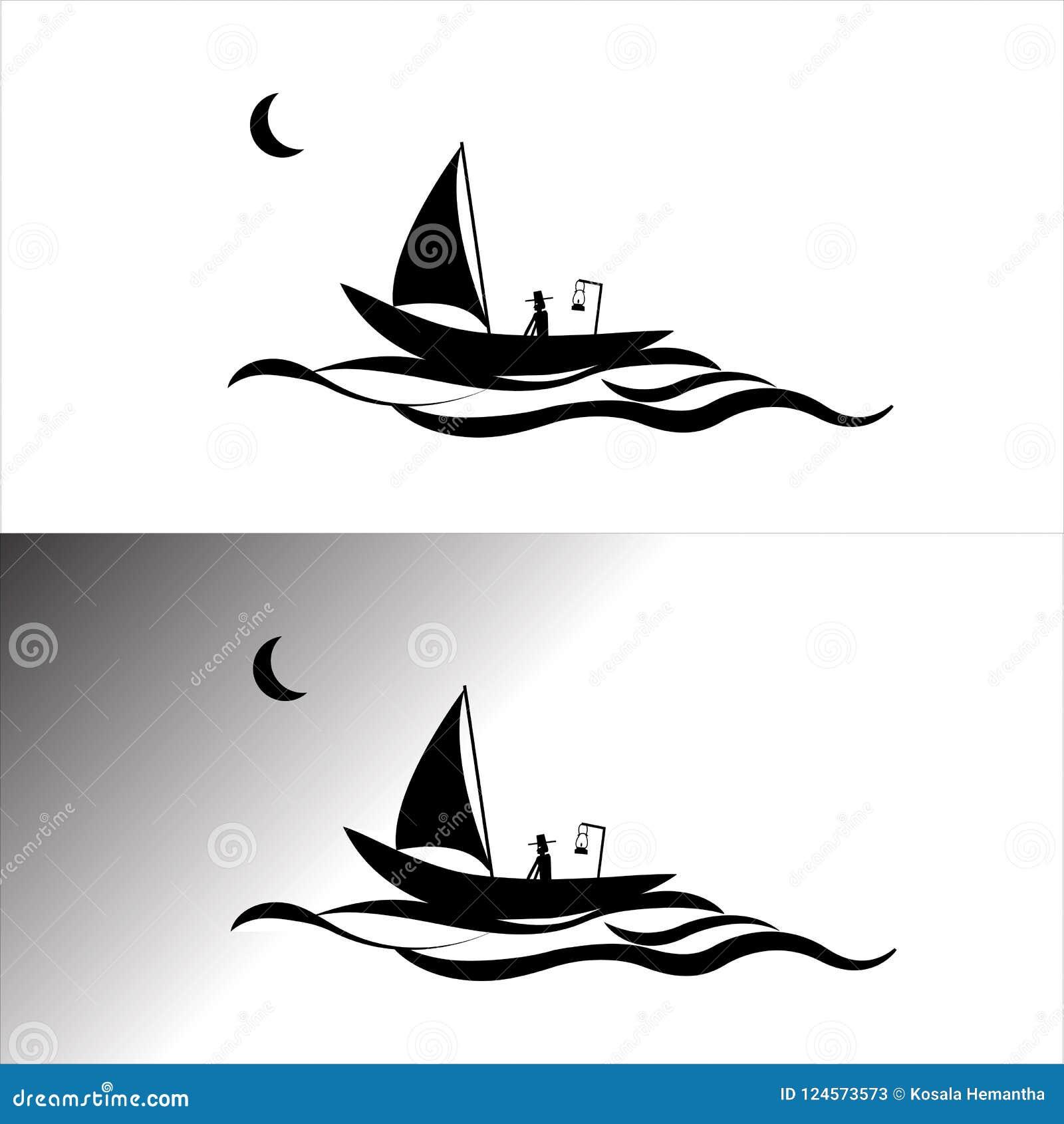 Fisherman Vector Illustrator Boat Stock Illustration