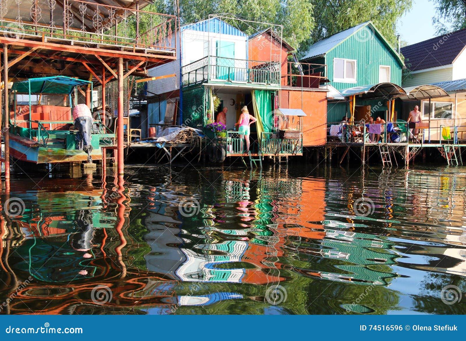 Download Fisherman Village On Dnieper River Editorial Photo - Image of fisherman, scene: 74516596