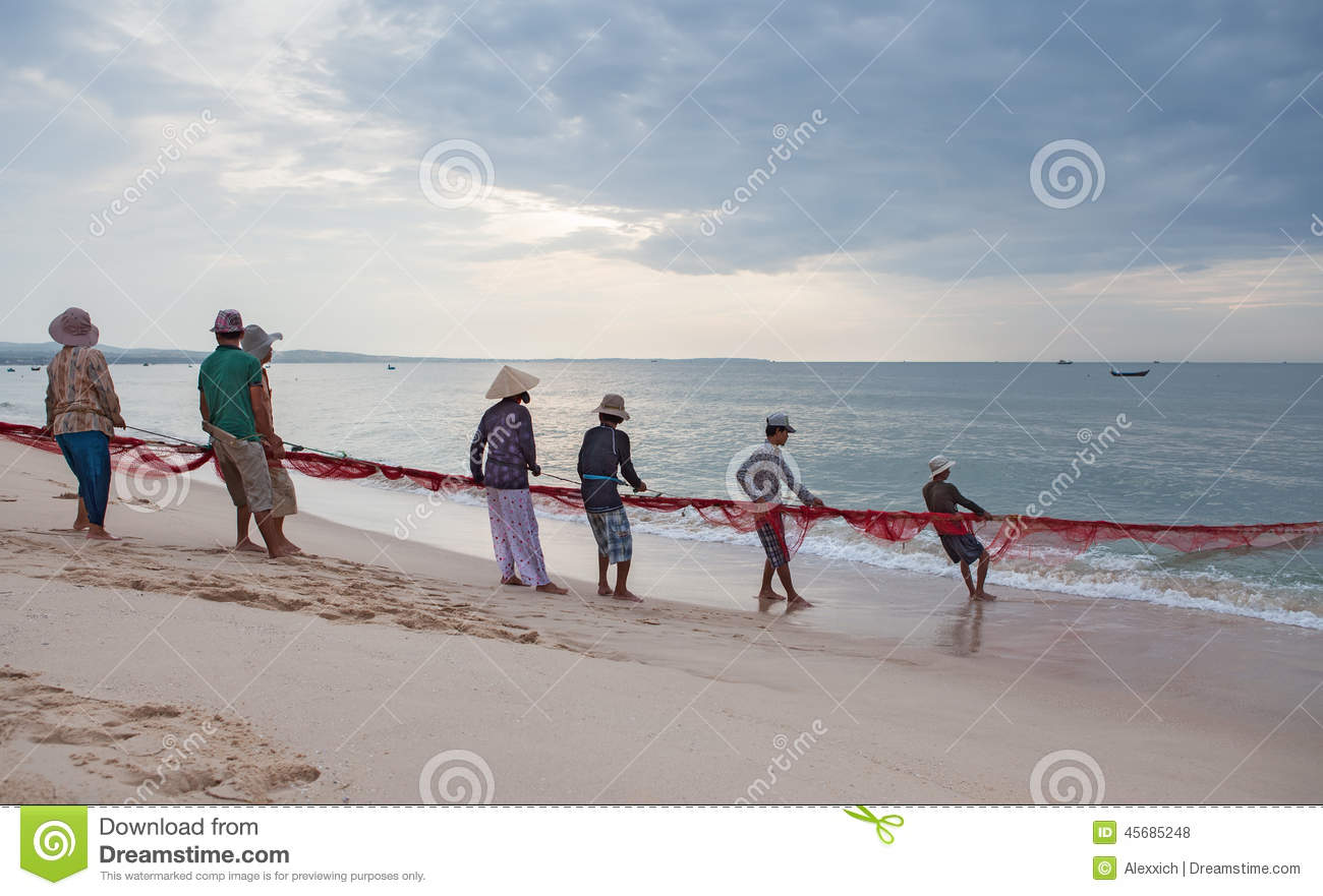 Fishermans dragging fishing nets editorial stock photo for Videos of people fishing