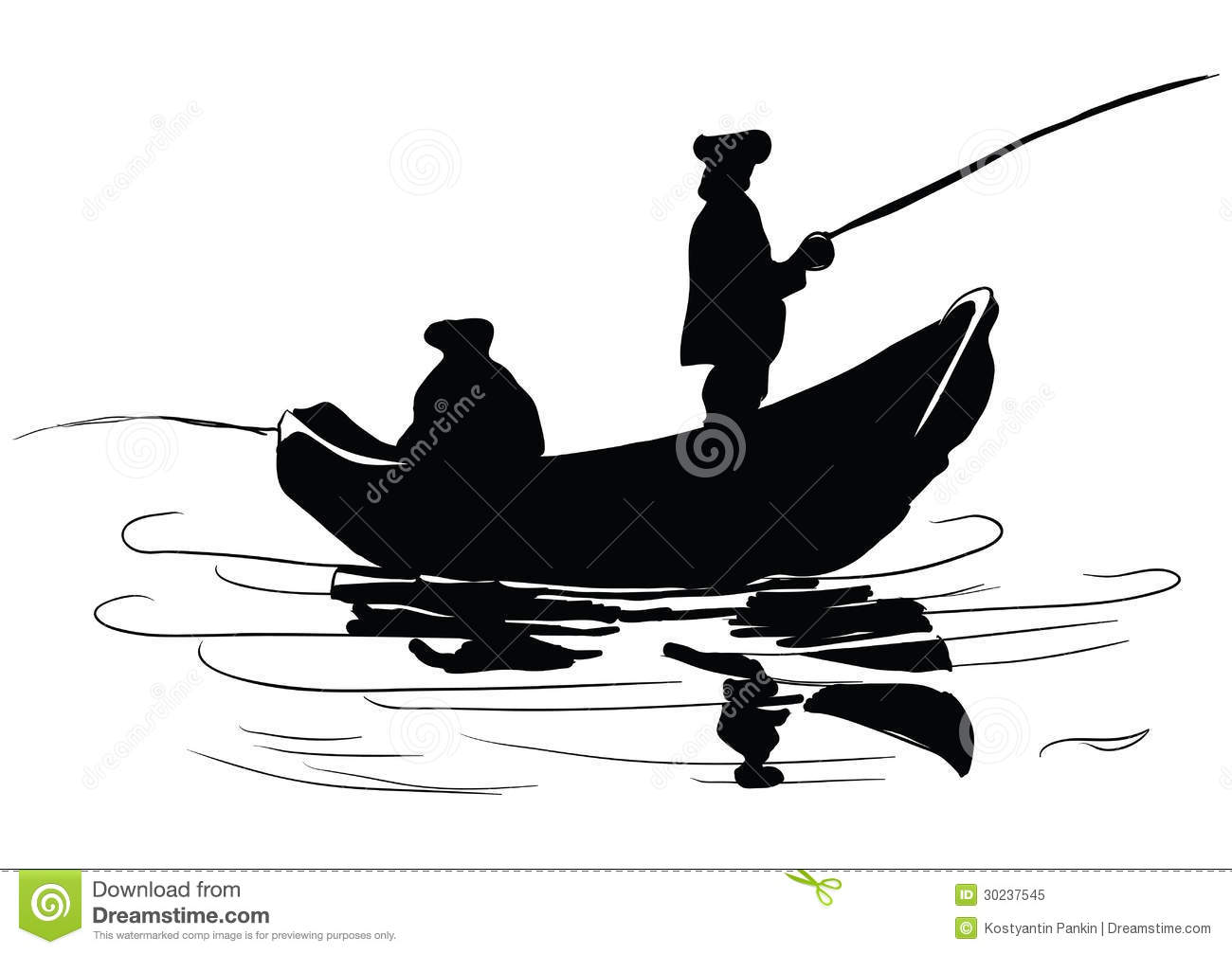 Fishermen in a boat. Fishing from a boat. Drawing made by hand. Vector ...