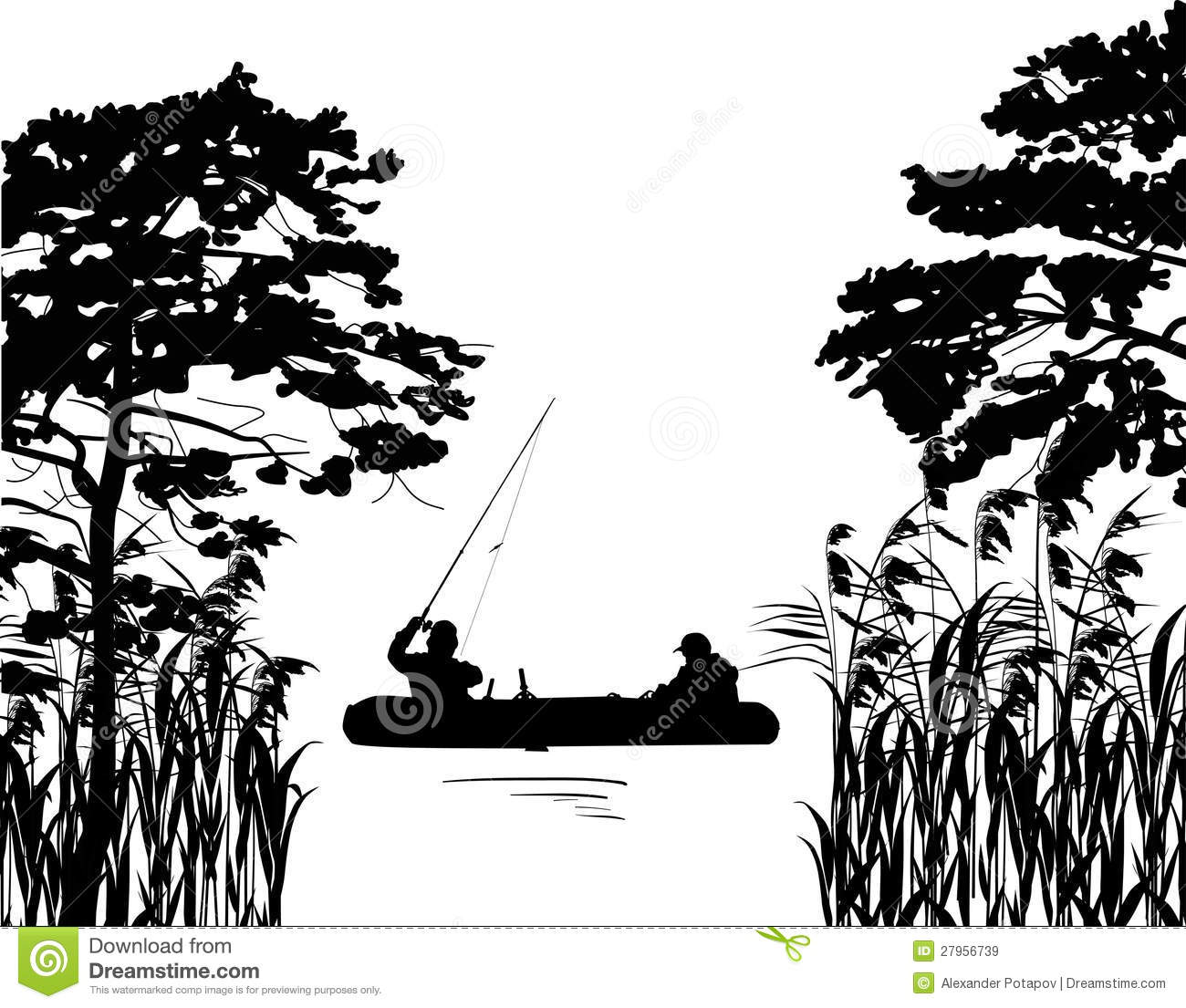 fishermen in boat silhouette between trees royalty free stock