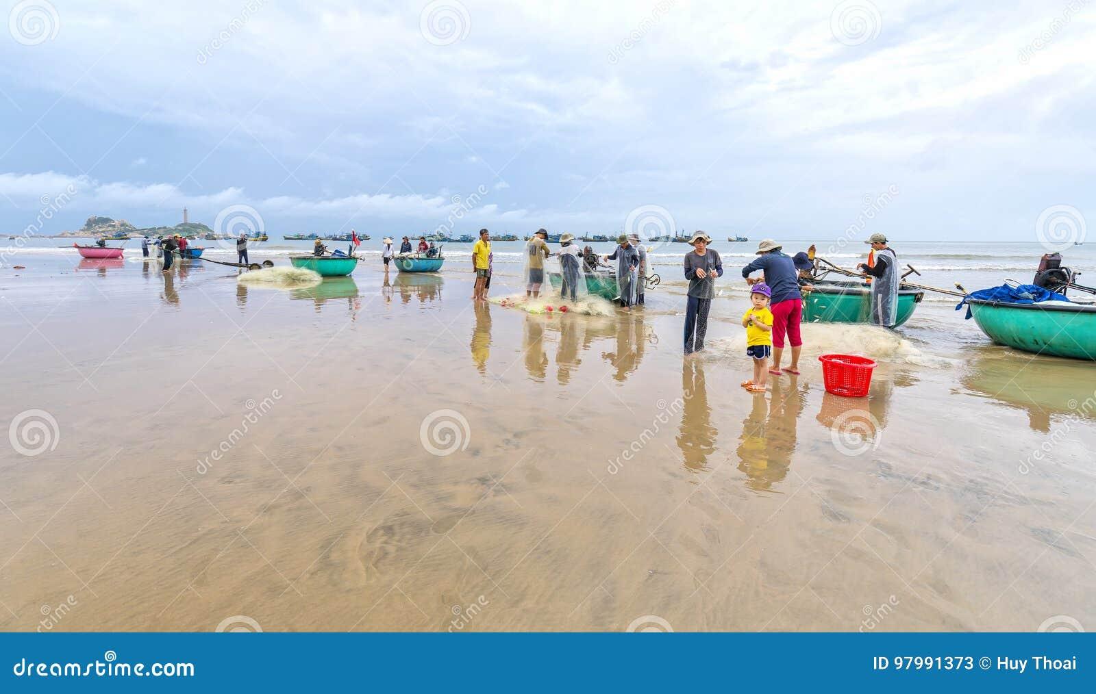 Fishermen are doing work ominous fishing nets