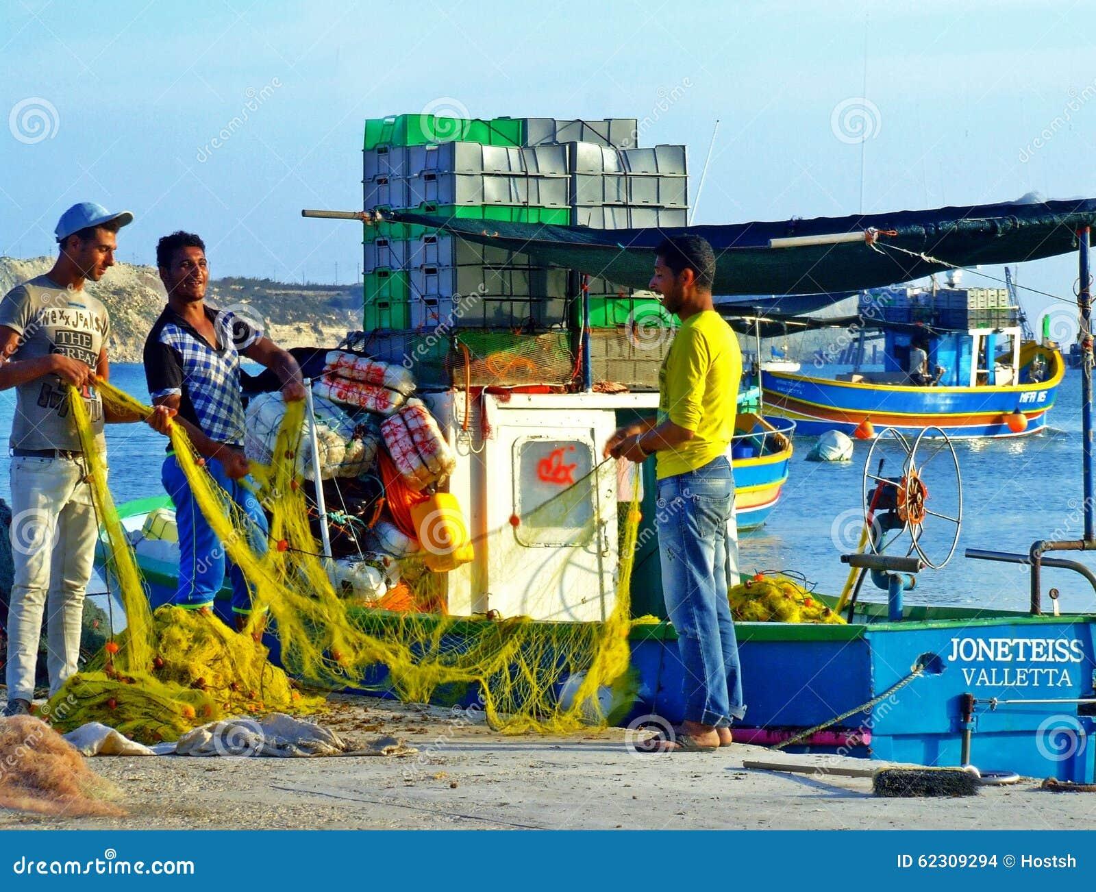 Fishermen, fishing boats, harbor