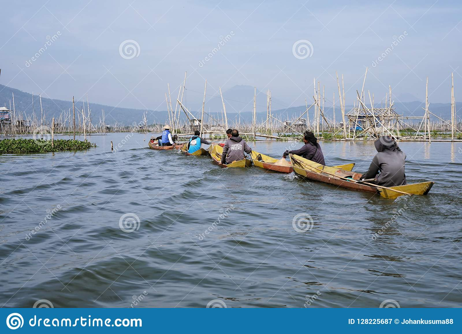 Fishermen on Rawa Pening Lake, Central Java, Indonesia