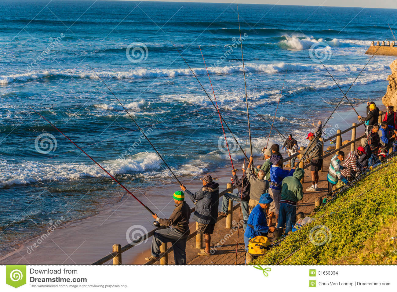 Fishermen rods excitement sea editorial stock image for Tide for fishing