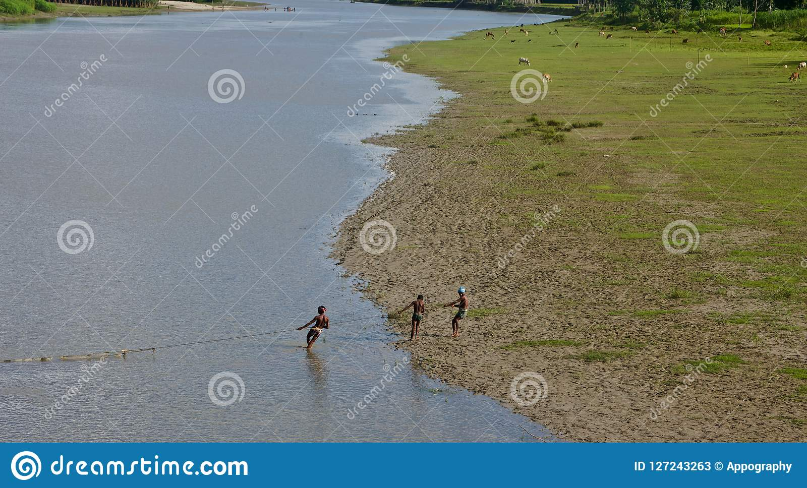 Fishermen working with a nets in the river unique photo