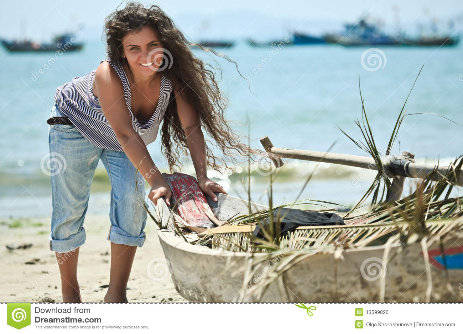 fisherwoman stock photo image 13599820