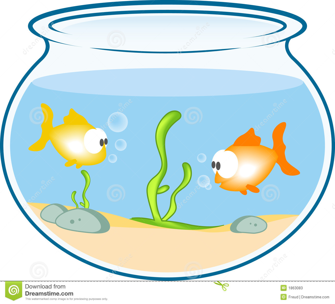 how to draw a goldfish in a bowl