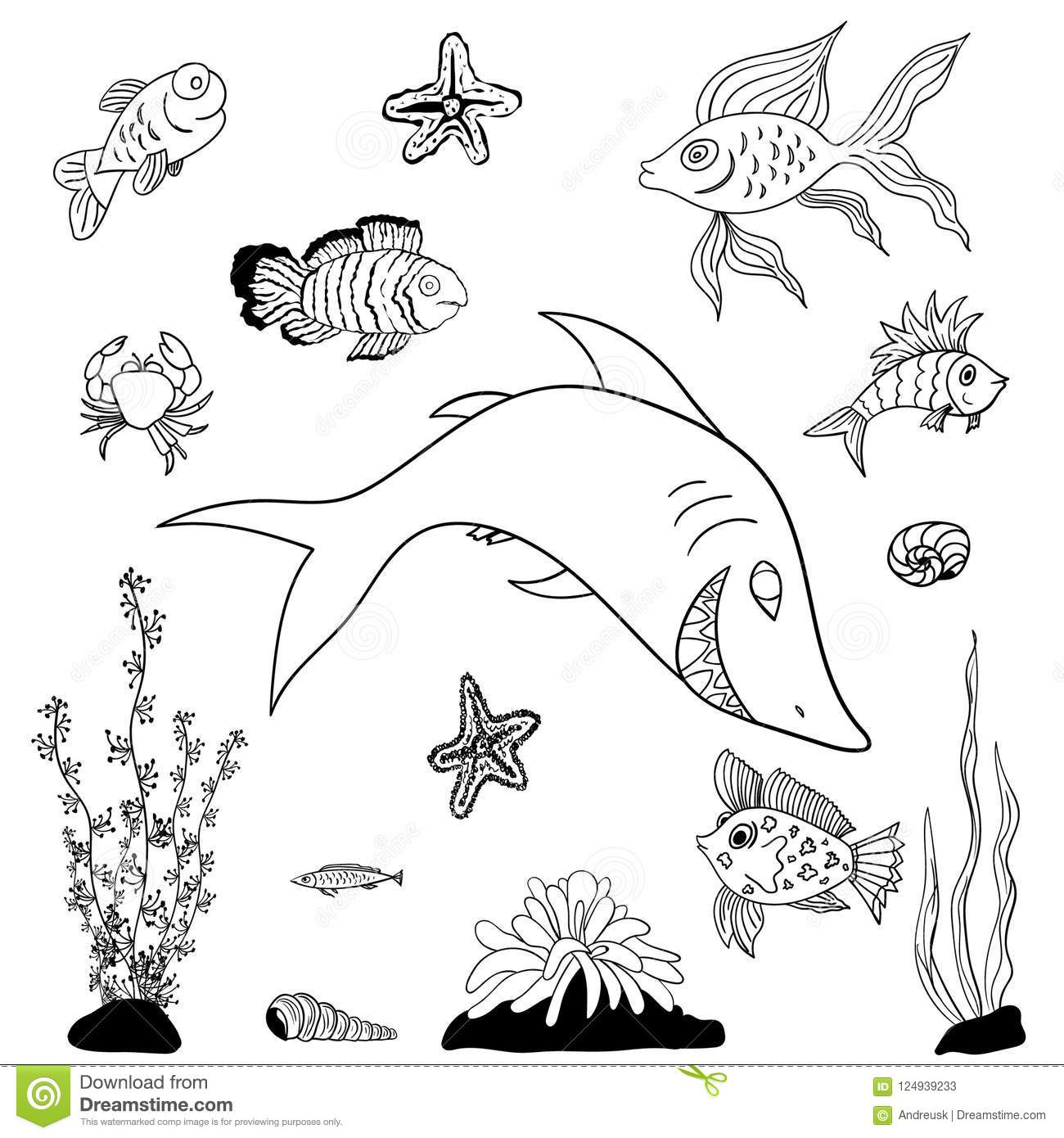 Fishes coloring pages stock vector. Illustration of ...