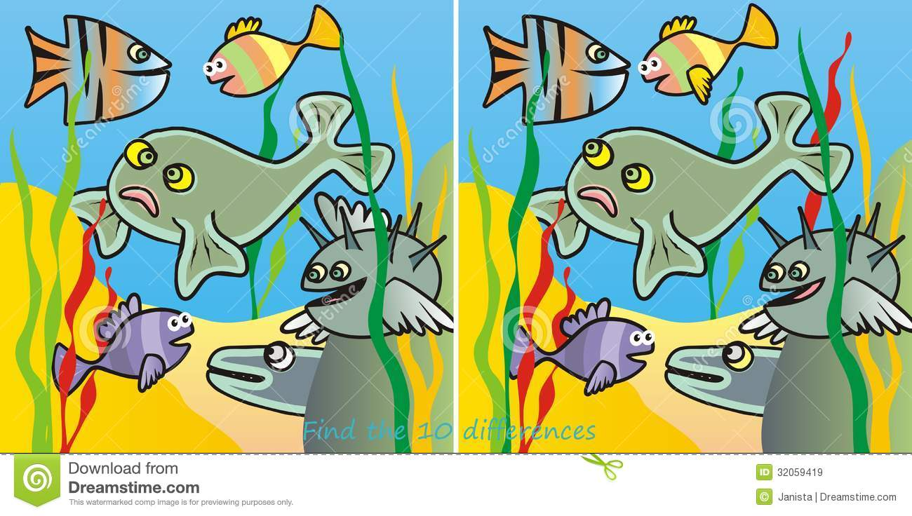 Fishes-10 Difference Royalty Free Stock Images - Image: 32059419