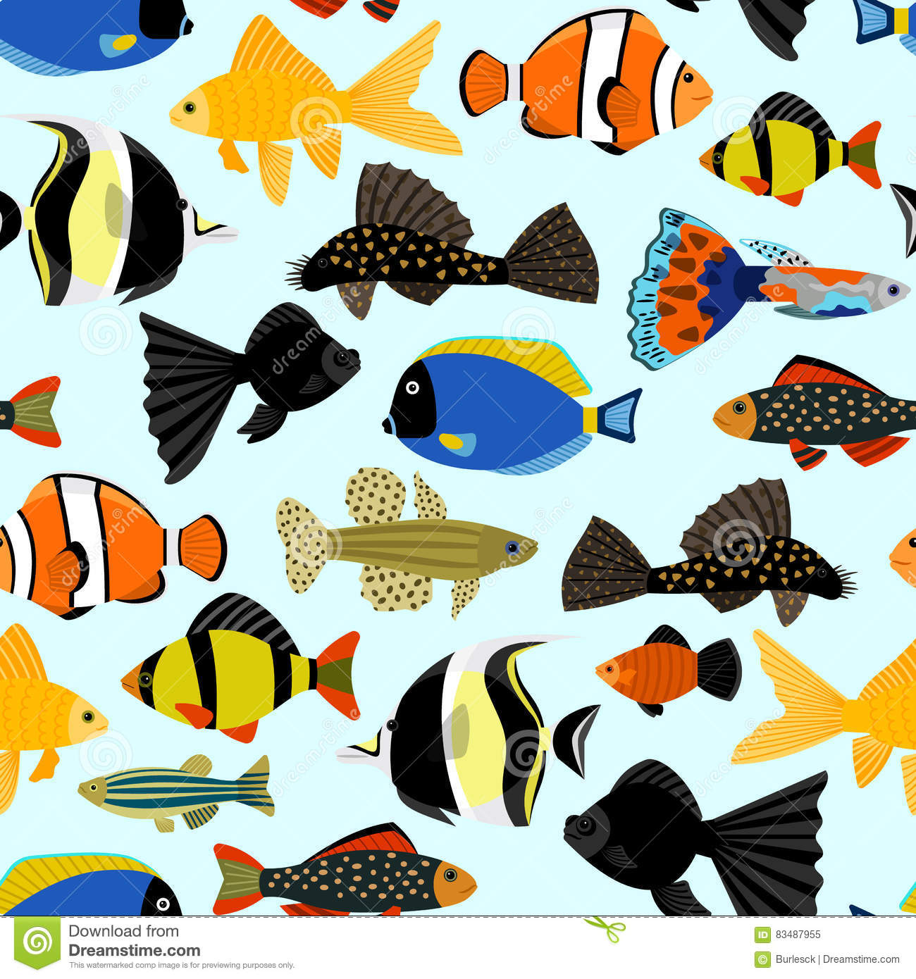 cute fish vector illustration seamless pattern vector angelfish clipart black and white colorful angelfish clipart