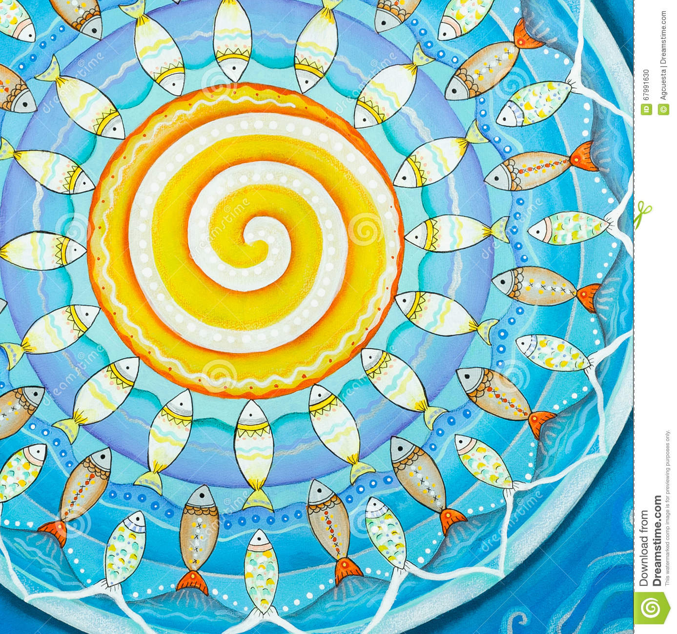 Fishes and sun subaquatic mandala painting stock for Mural mandala