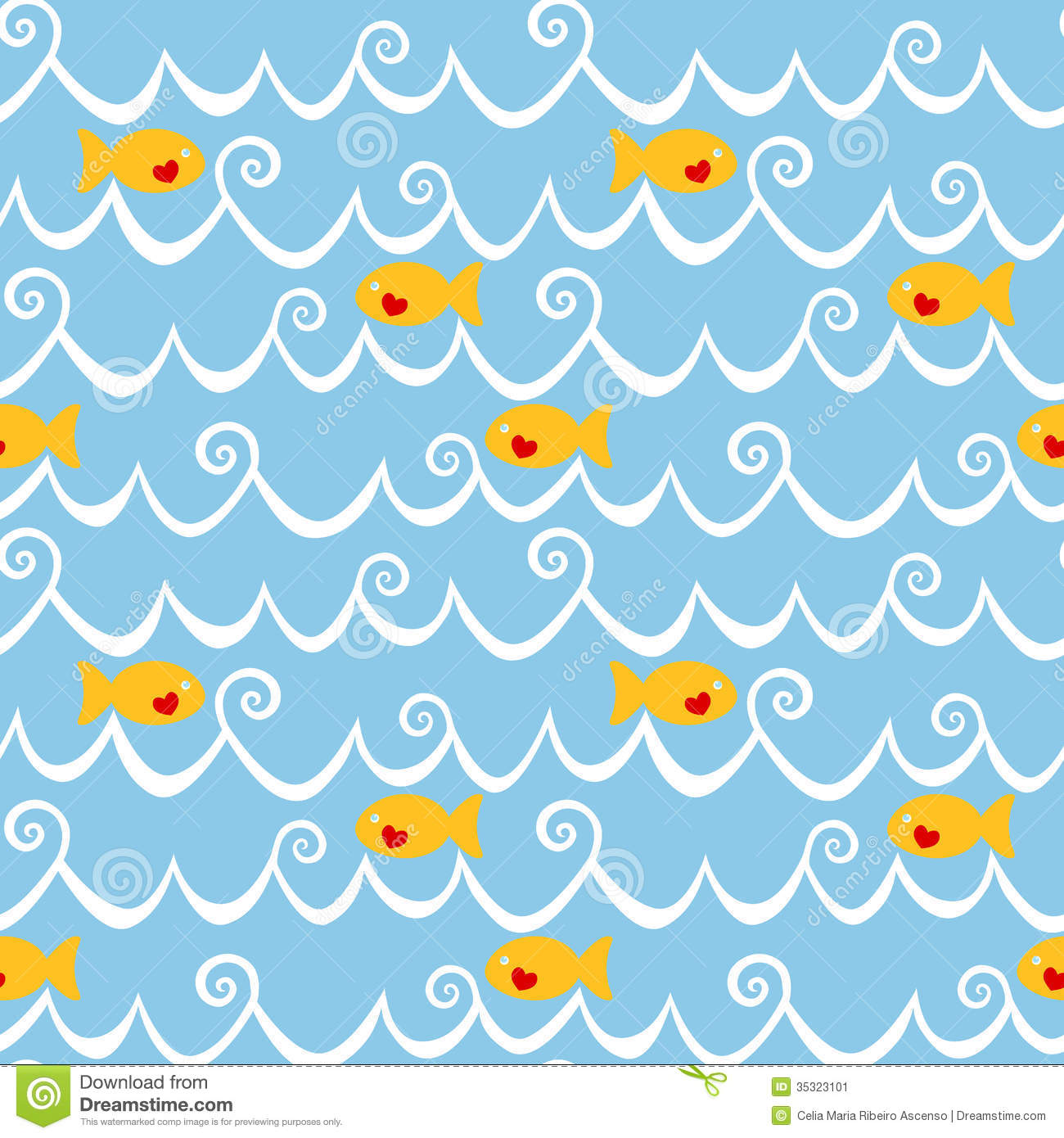 Cartoon Waves Border Fishes and waves seamless