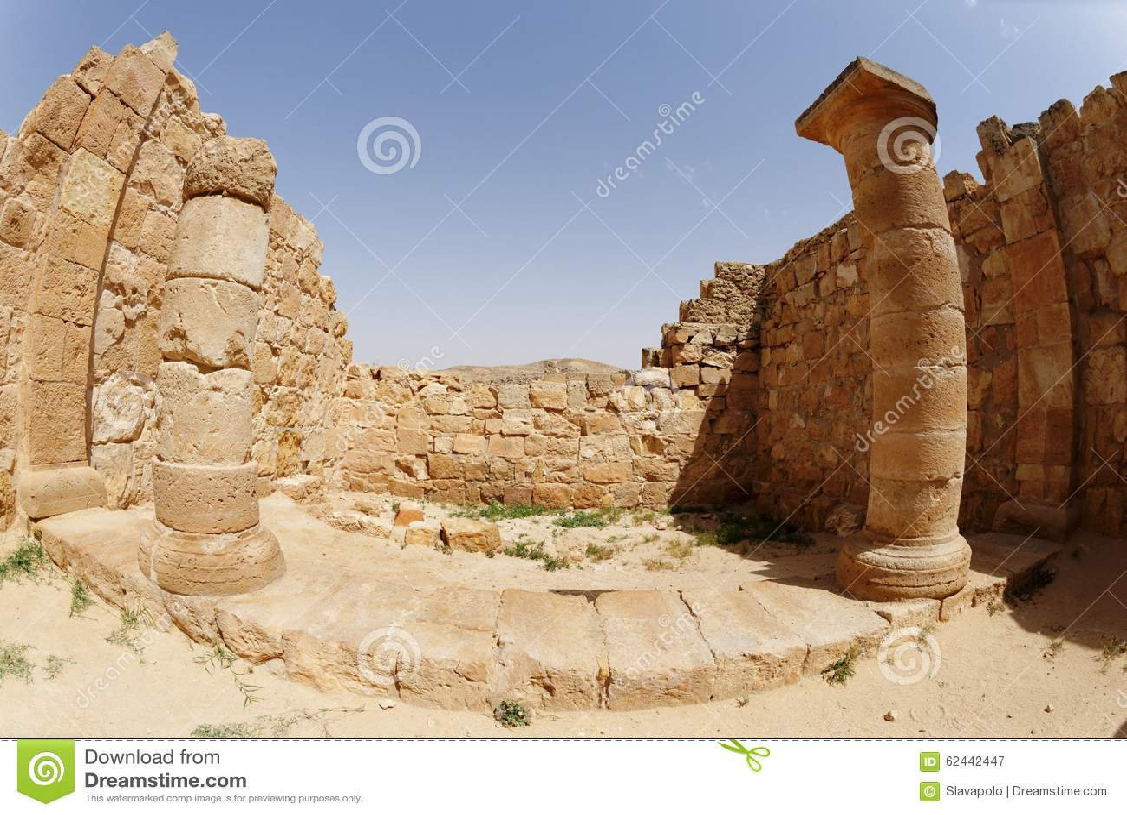 Fisheye view of ancient temple colonnade in Avdat, Israel