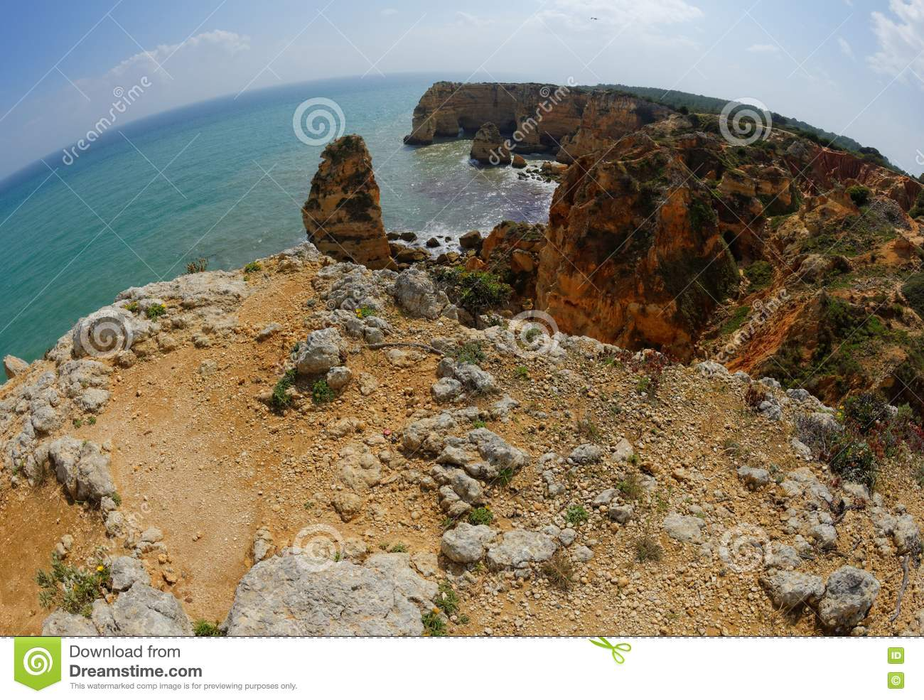 Fisheye view of Praia da Marinha beach in Portugal