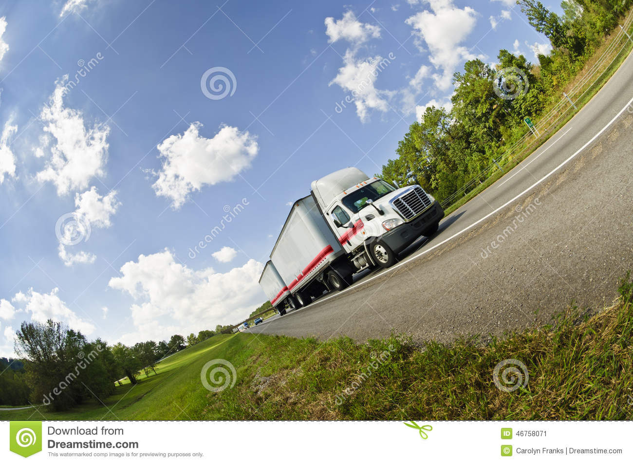 Fisheye View Of Semi Truck On Road